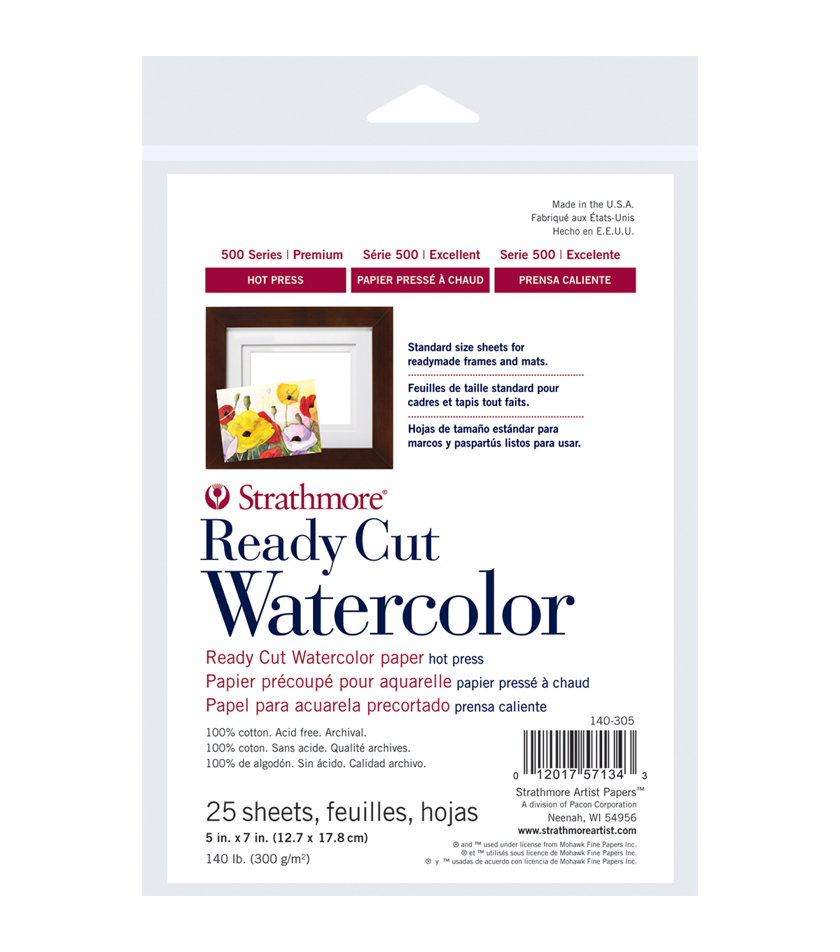 "Strathmore Watercolor Paper 5""X7""-140lb 25 Sheets Hot Pressed"