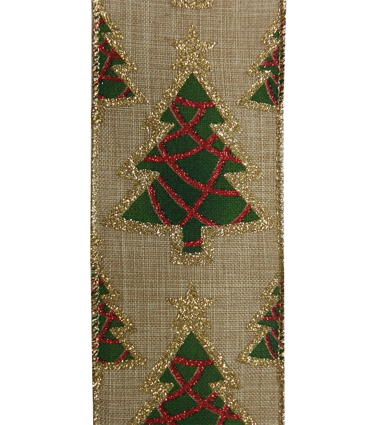 Maker\u0027s Holiday Christmas Linen Ribbon 2.5\u0027\u0027x25\u0027-Green Trees on Beige