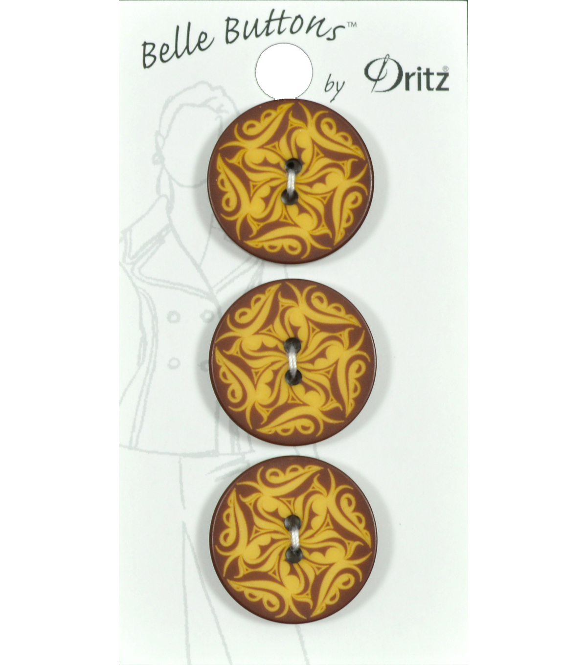 Dritz 23mm Belle Button Fashion Paisley Brown Tan