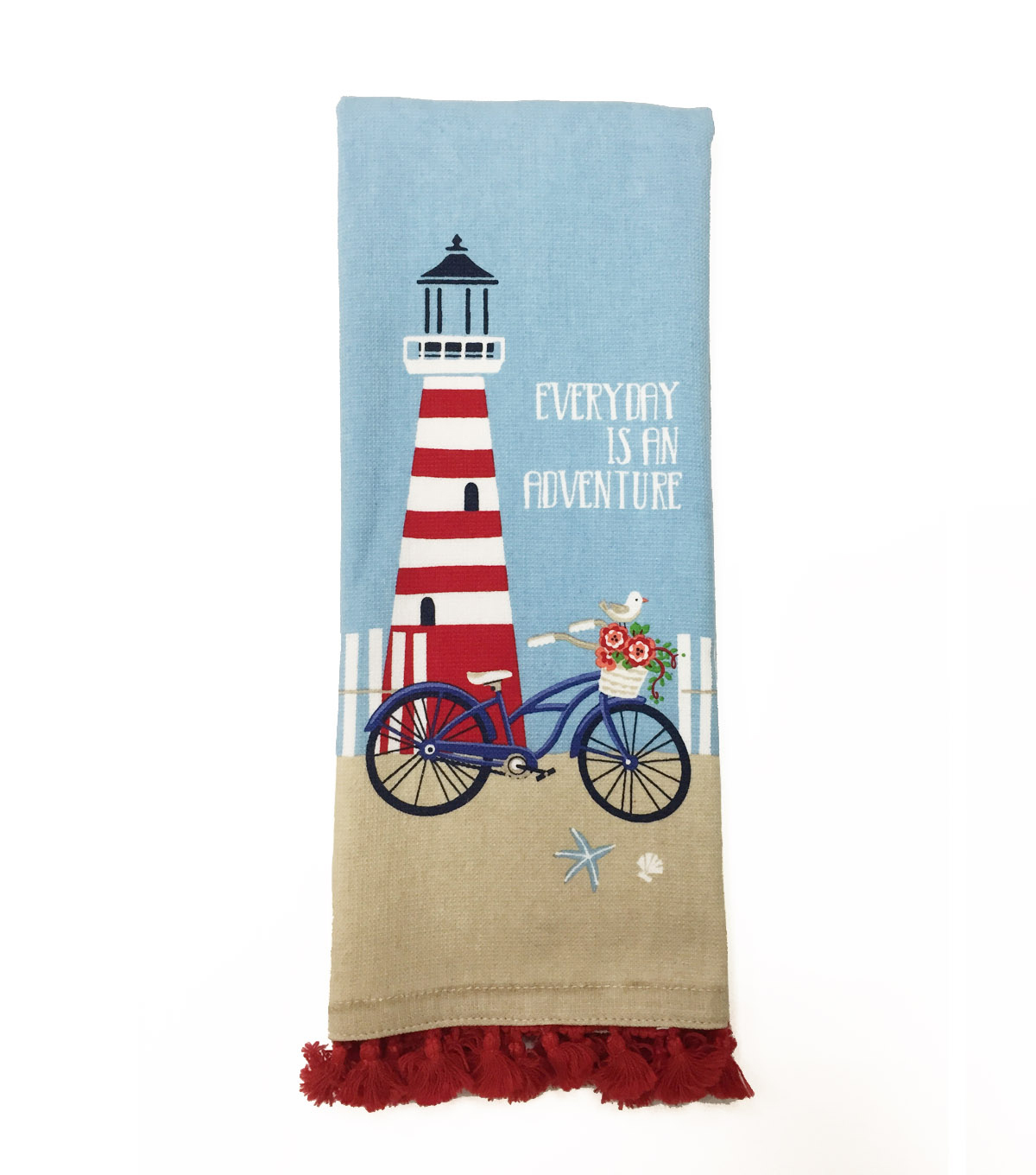Sea to Sea 16''x28'' French Terry Hand Towel with Tassel Trim-Lighthouse