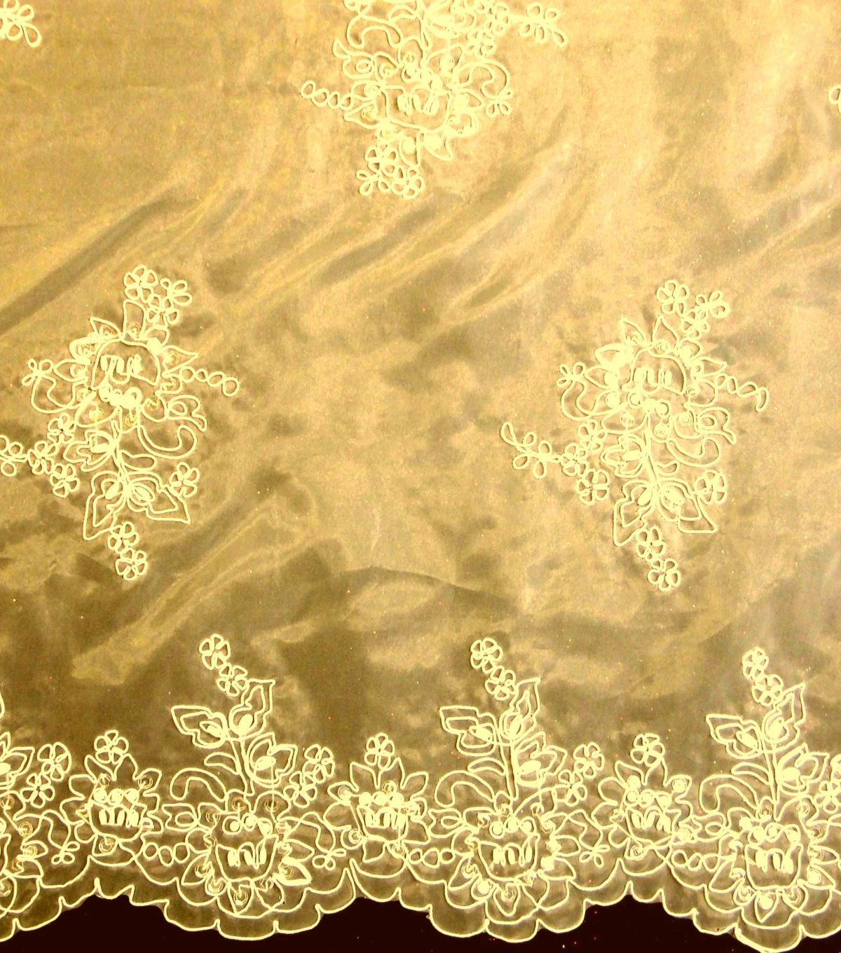 Designer Vault Bridal Fabric - Etched Glass Embroidered Organza Mocha