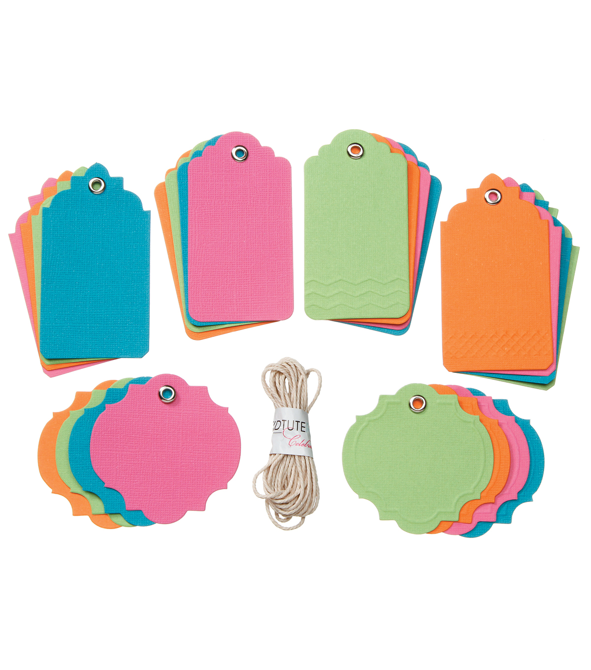 Core'dinations Tags:  Brights Assortment with String; 24 pack
