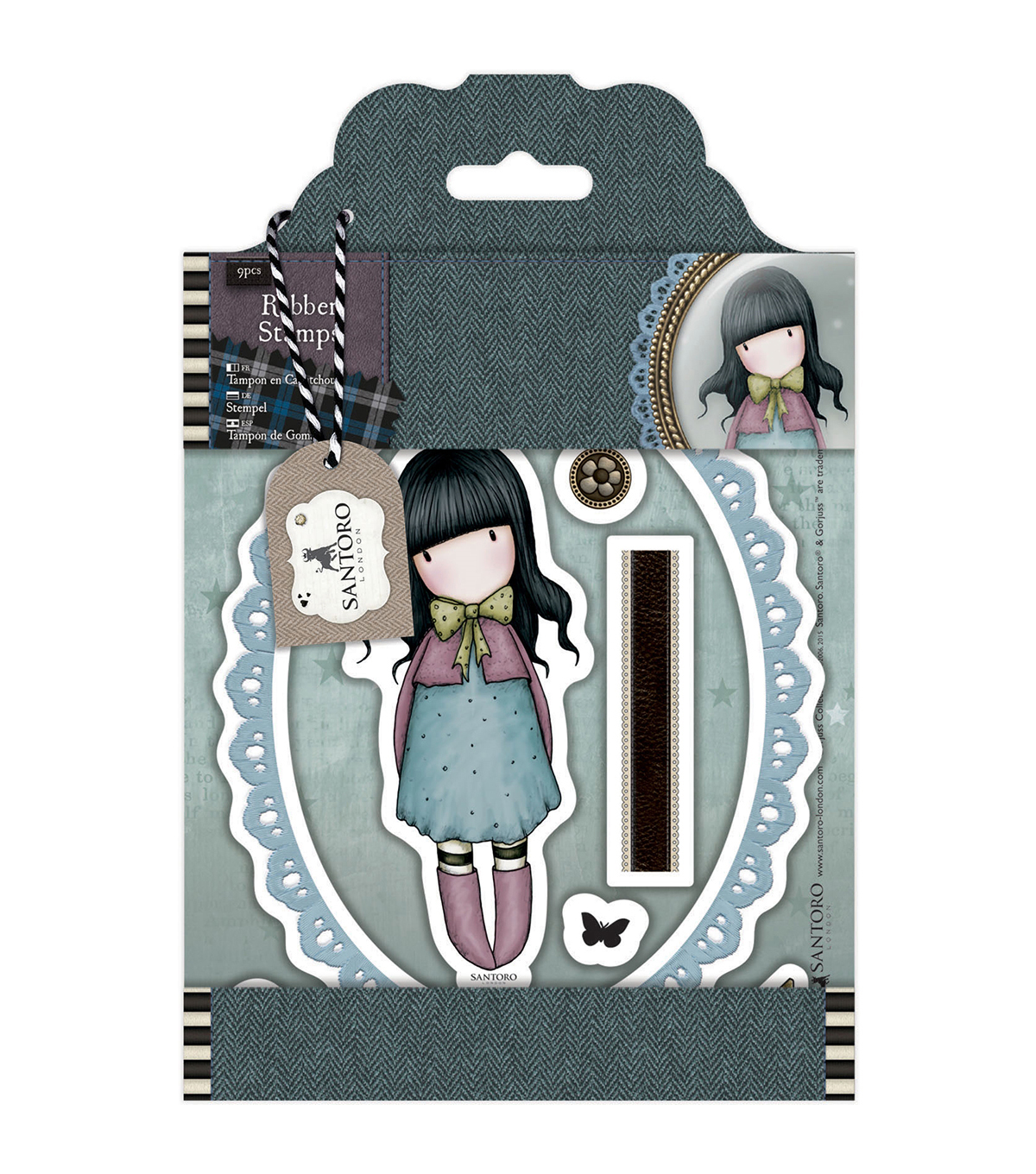Santoro Gorjuss Tweed Rubber Stamps-Waiting