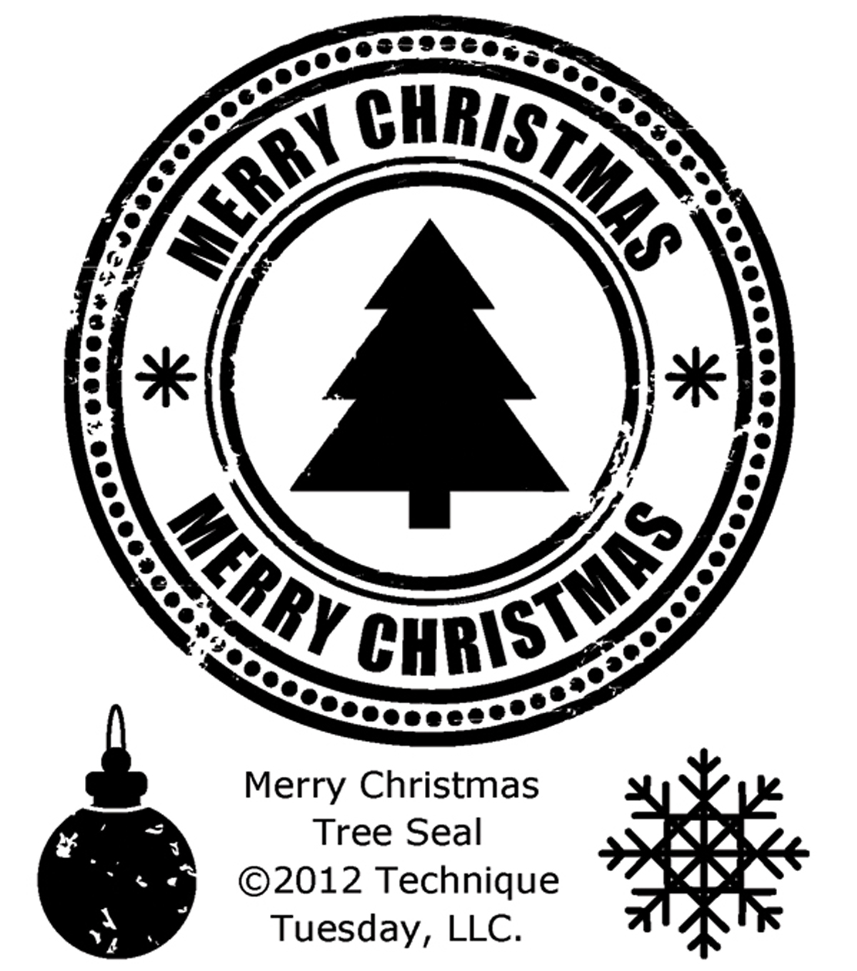 Technique Tuesday Clear Stamps Merry Christmas Tree Seal