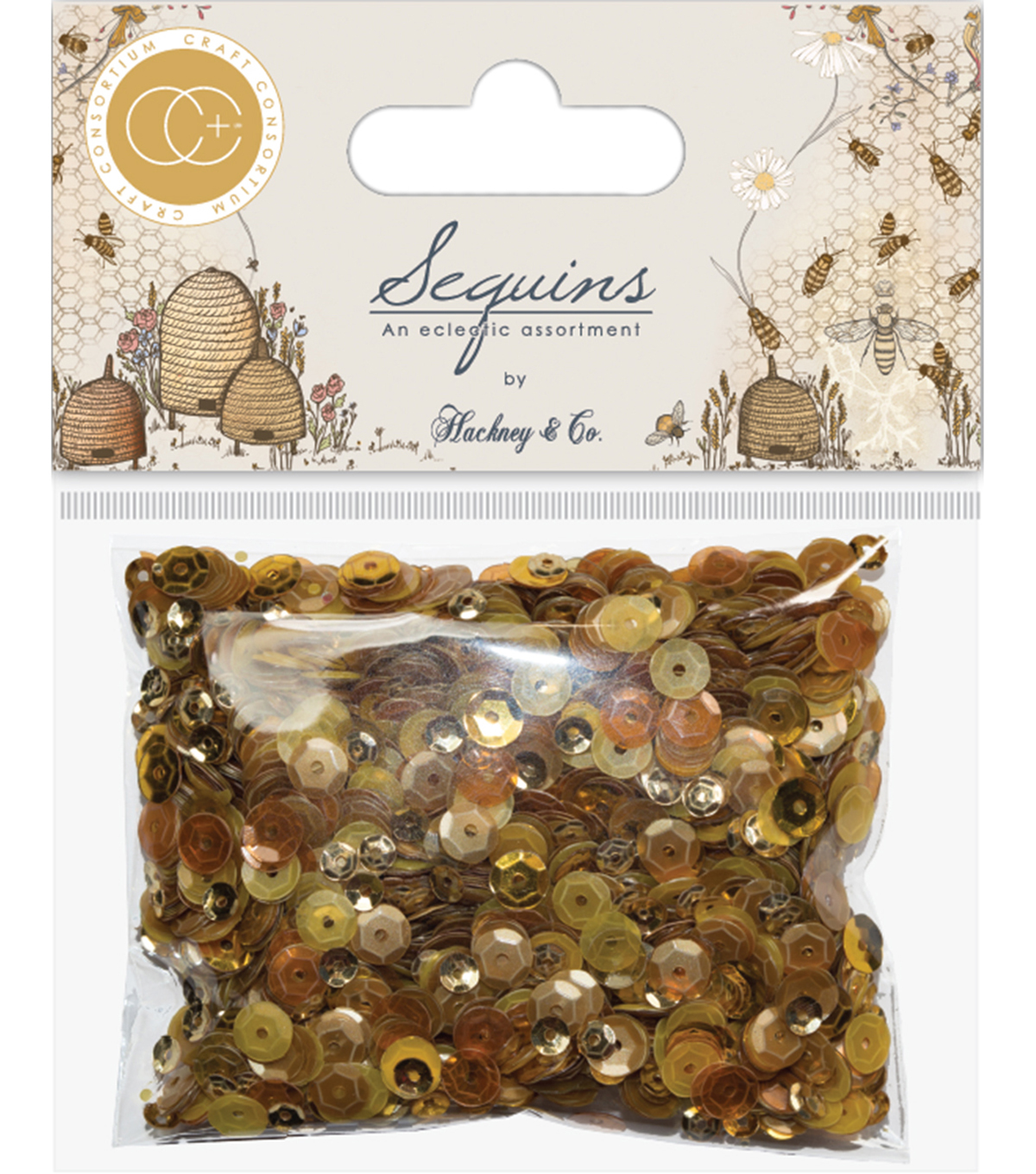 Craft Consortium Tell The Bees Sequins-Gold & Honey