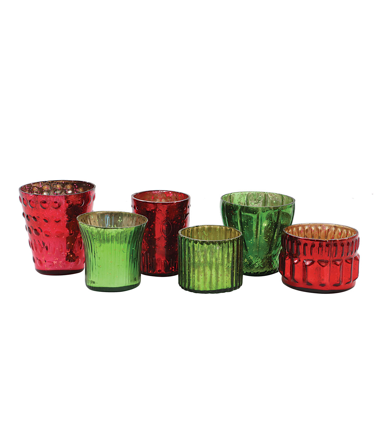 3R Studios Christmas 6 pk Mercury Glass Tealight Holders-Red & Green