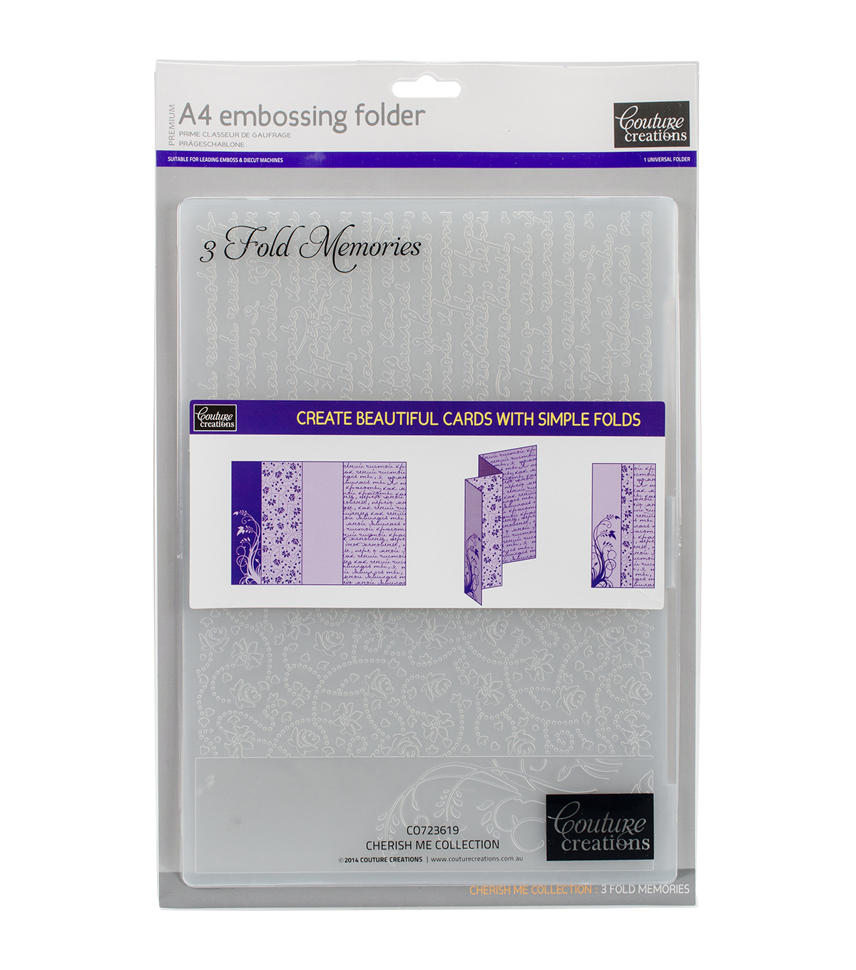 Couture Creations A4 Embossing Folder-3 Fold Memories