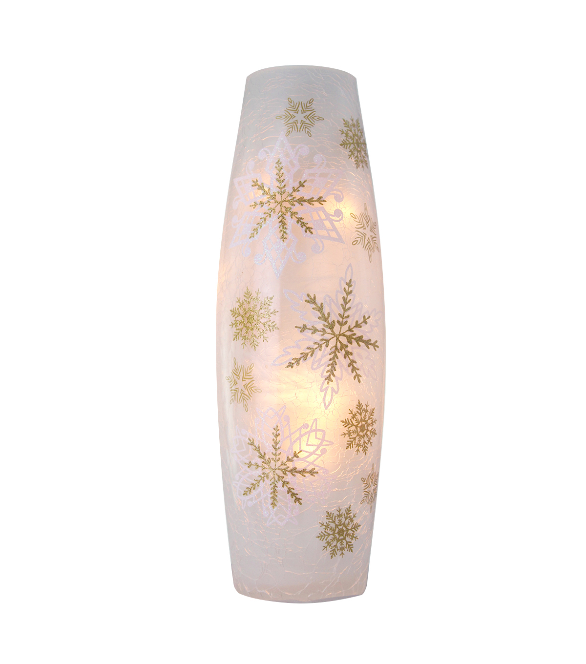 Maker\u0027s Holiday Christmas Lighted Glass Vase-Soft Snowflakes