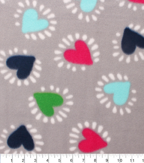 "Blizzard Fleece Fabric 59""-Colorful Hearts On Gray"