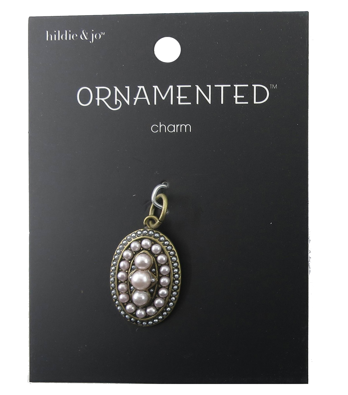 hildie & jo™ Ornamented Oval Antique Gold Pendant-Pearls