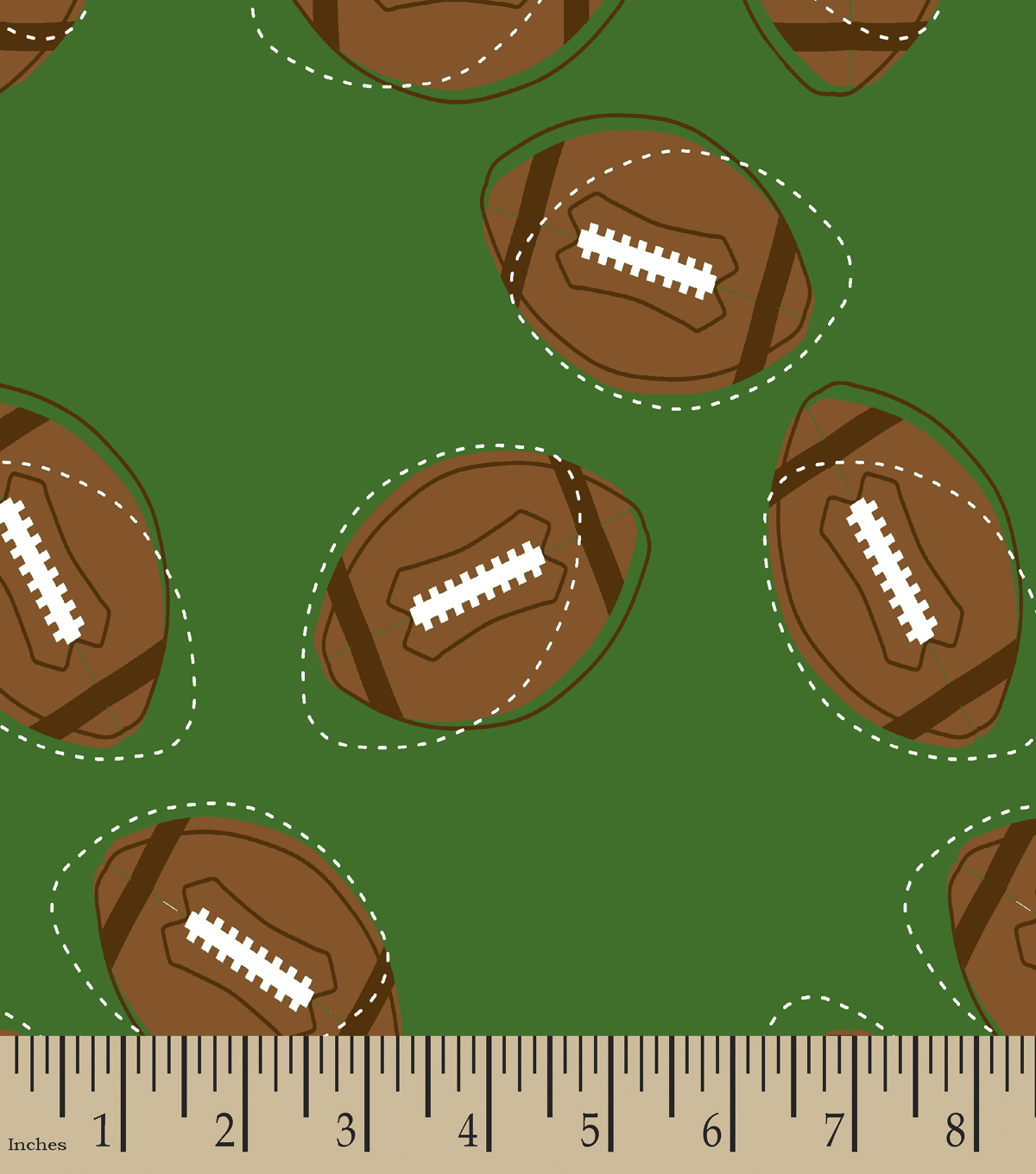 Footballs on the Field Print Fabric