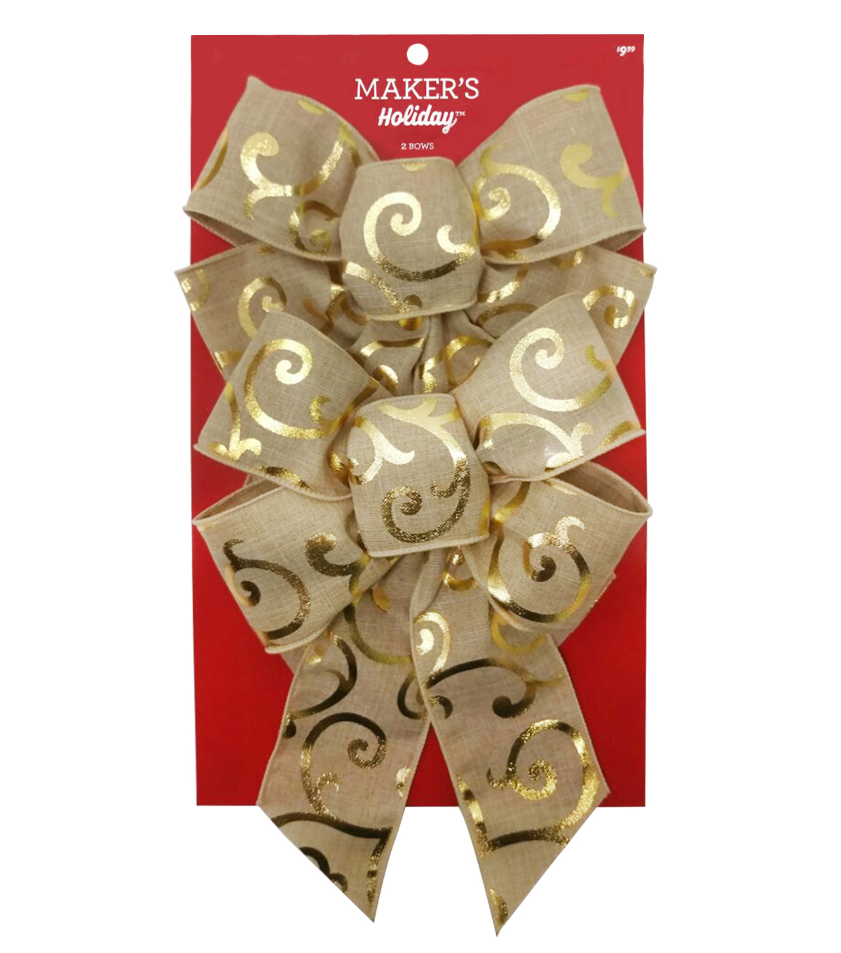 Maker\u0027s Holiday Christmas 2 pk Fashion Bows-Gold Foil Swirls on Natural