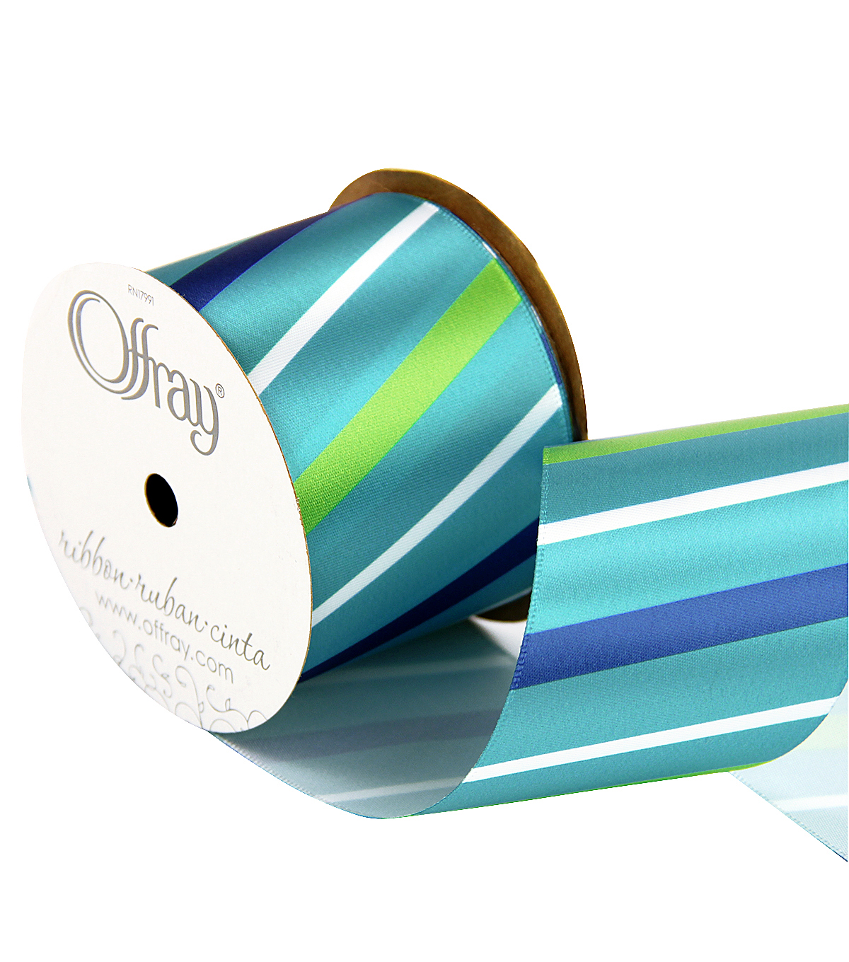 "Offray 2.25"" x 9' Diagonal Stripe Ribbon-Green/Blue/White"