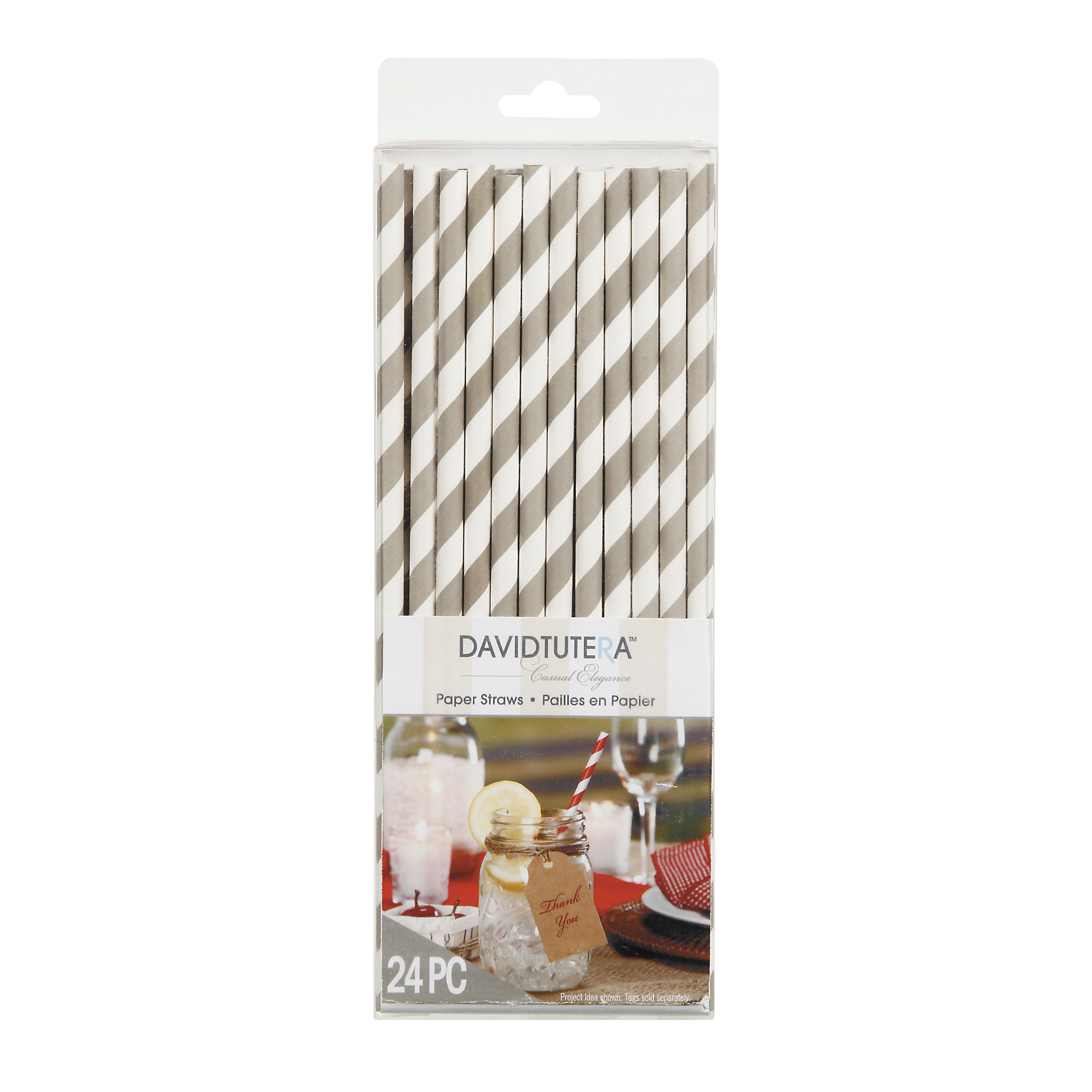 Taupe Stripe Paper Straw