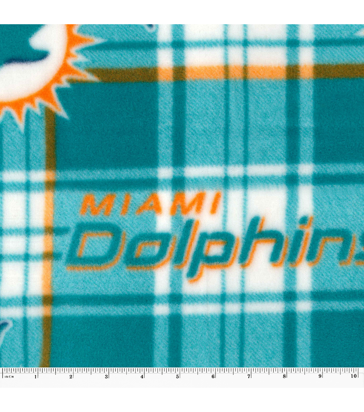 Miami Dolphins Fleece Fabric 58\u0027\u0027-Plaids