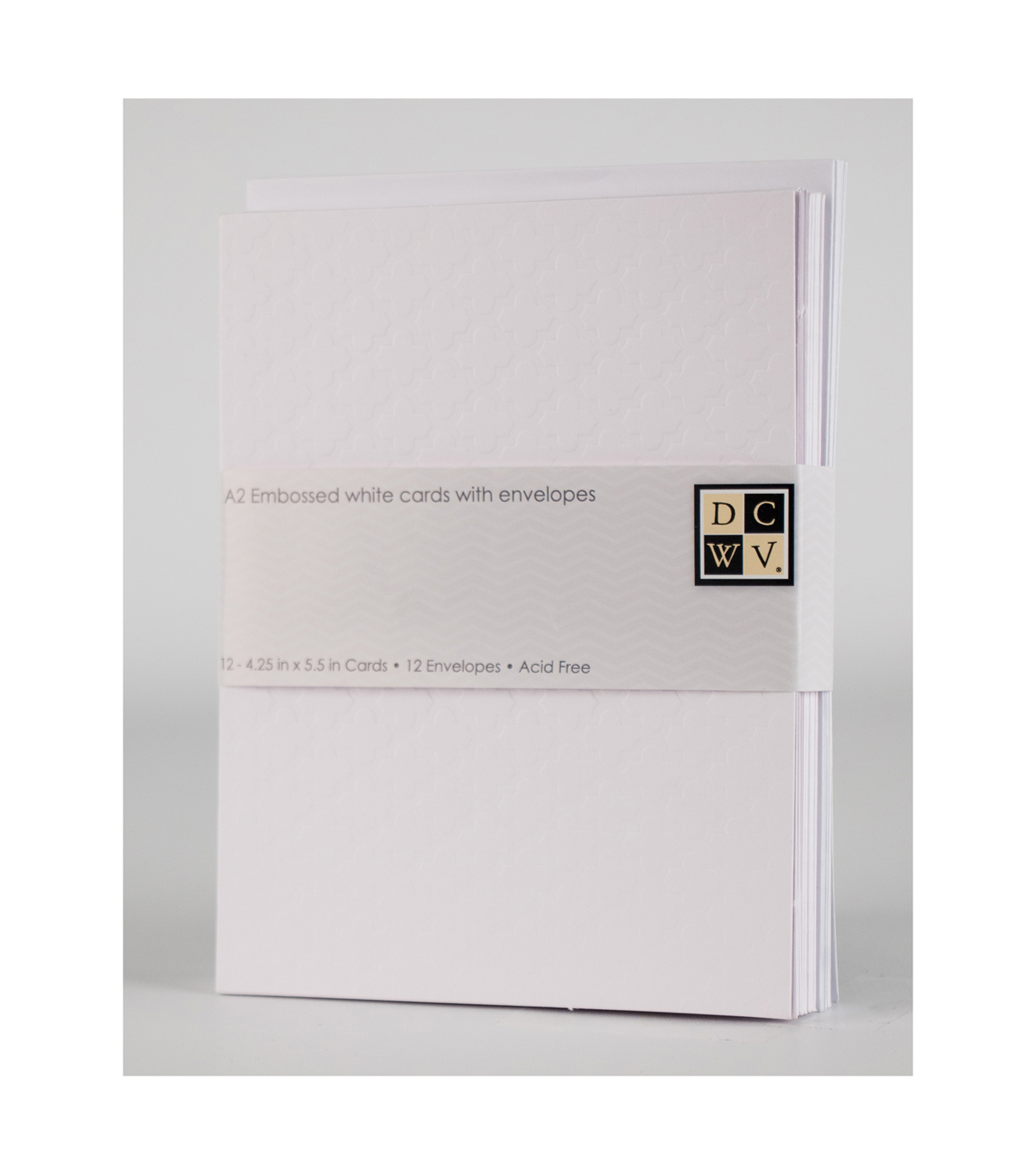 DCWV A2 12 pack card and envelope set: Embossed White Card set