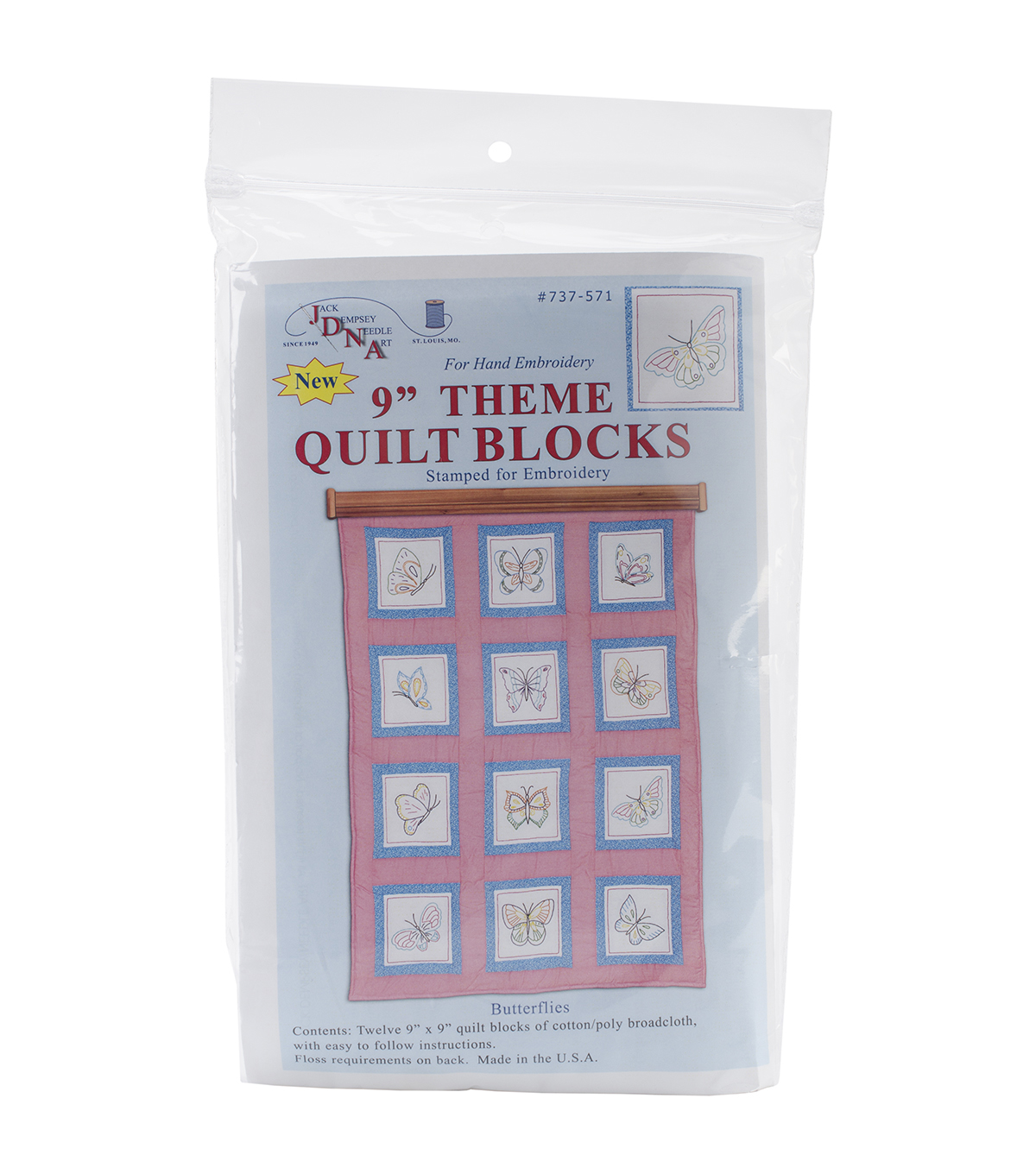 Jack Dempsey Themed Stamped Butterflies White Quilt Blocks