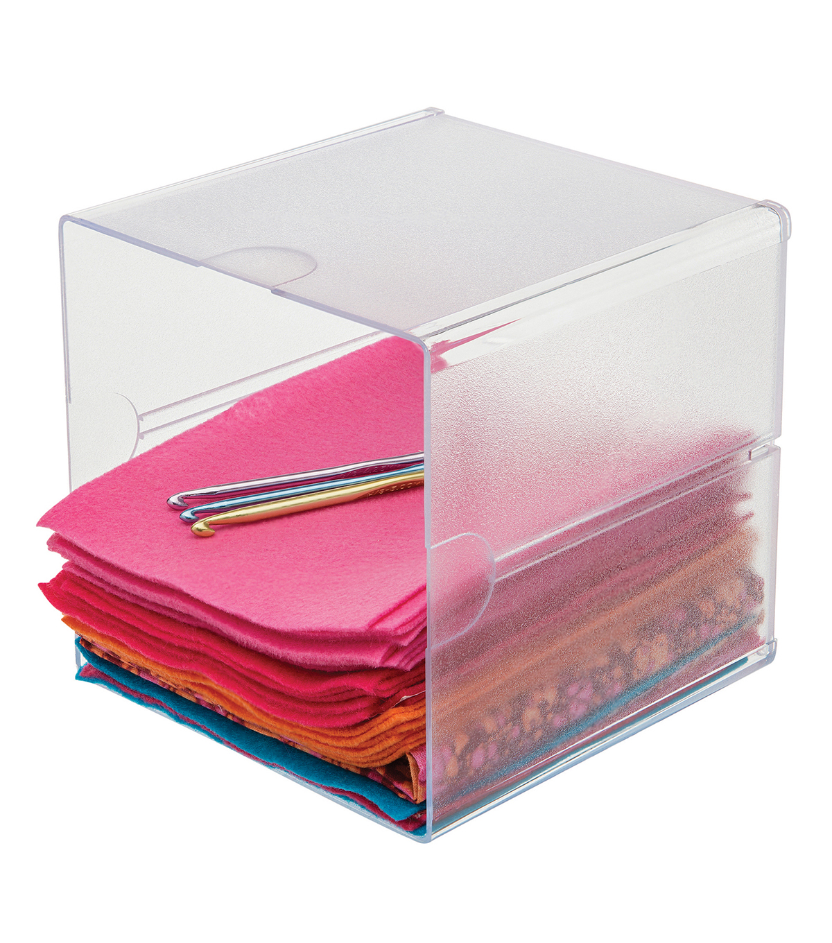 Deflecto 6''x6''x6'' Stackable Open Cube Storage Organizer-Clear 6pk