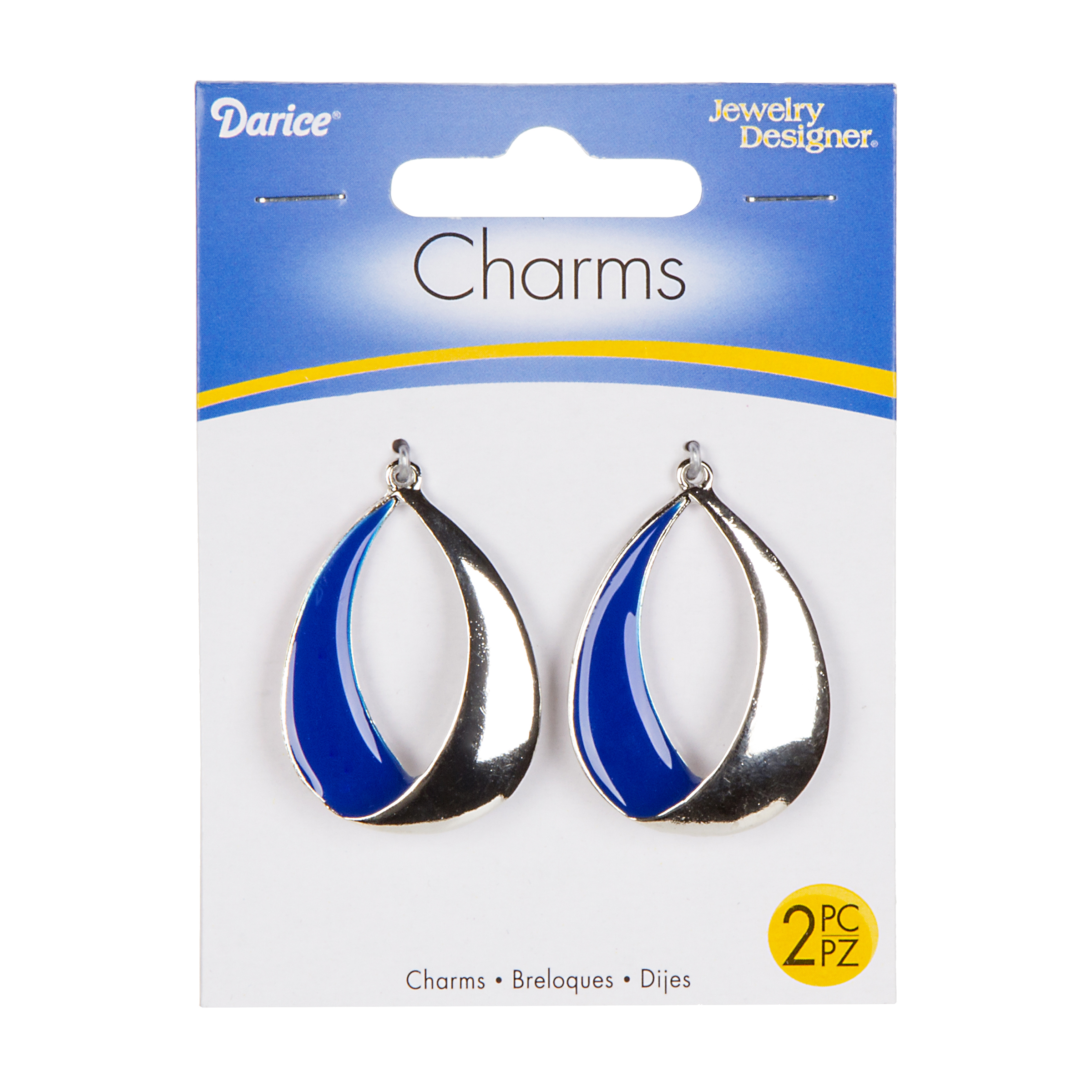 Silver Oval Metallic Charms with Blue Enameling, 2pcs./pkg