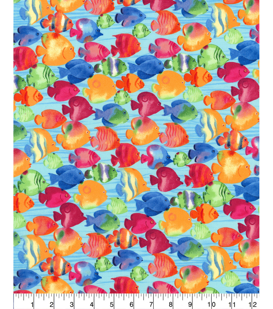 Novelty Cotton Fabric 44\u0022-School Of Fish