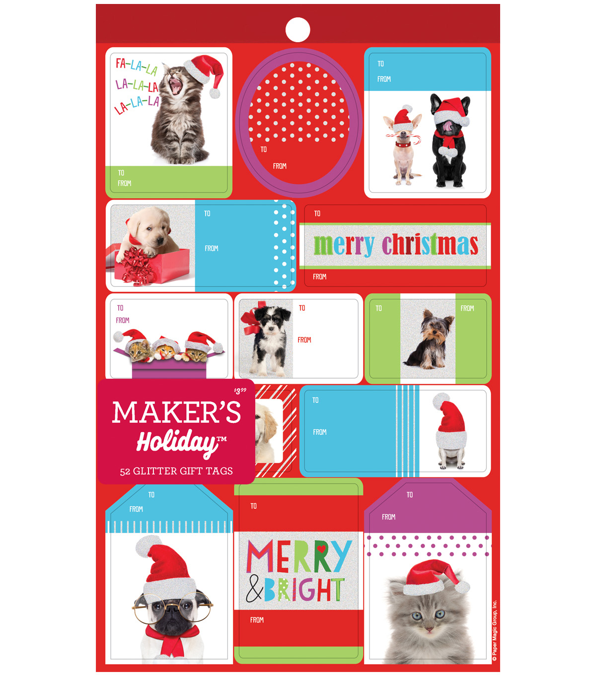 Maker\u0027s Holiday Christmas 52 pk Glitter Gift Tags-Holiday Pets