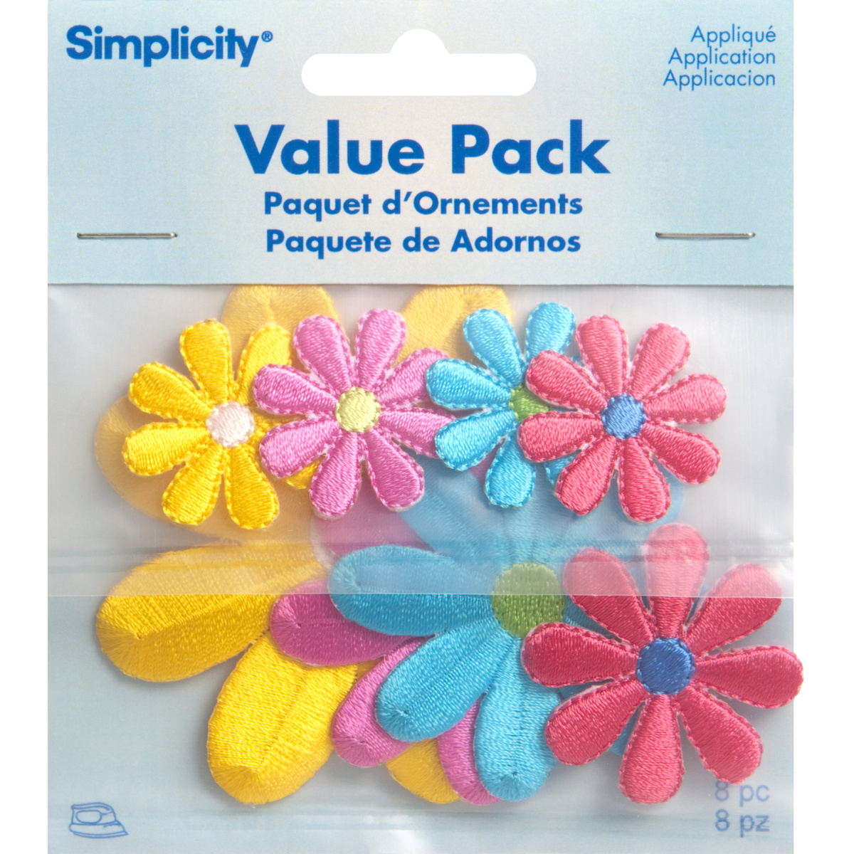 Assorted Daisy Flowers Iron On Applique Pack, 8 pcs