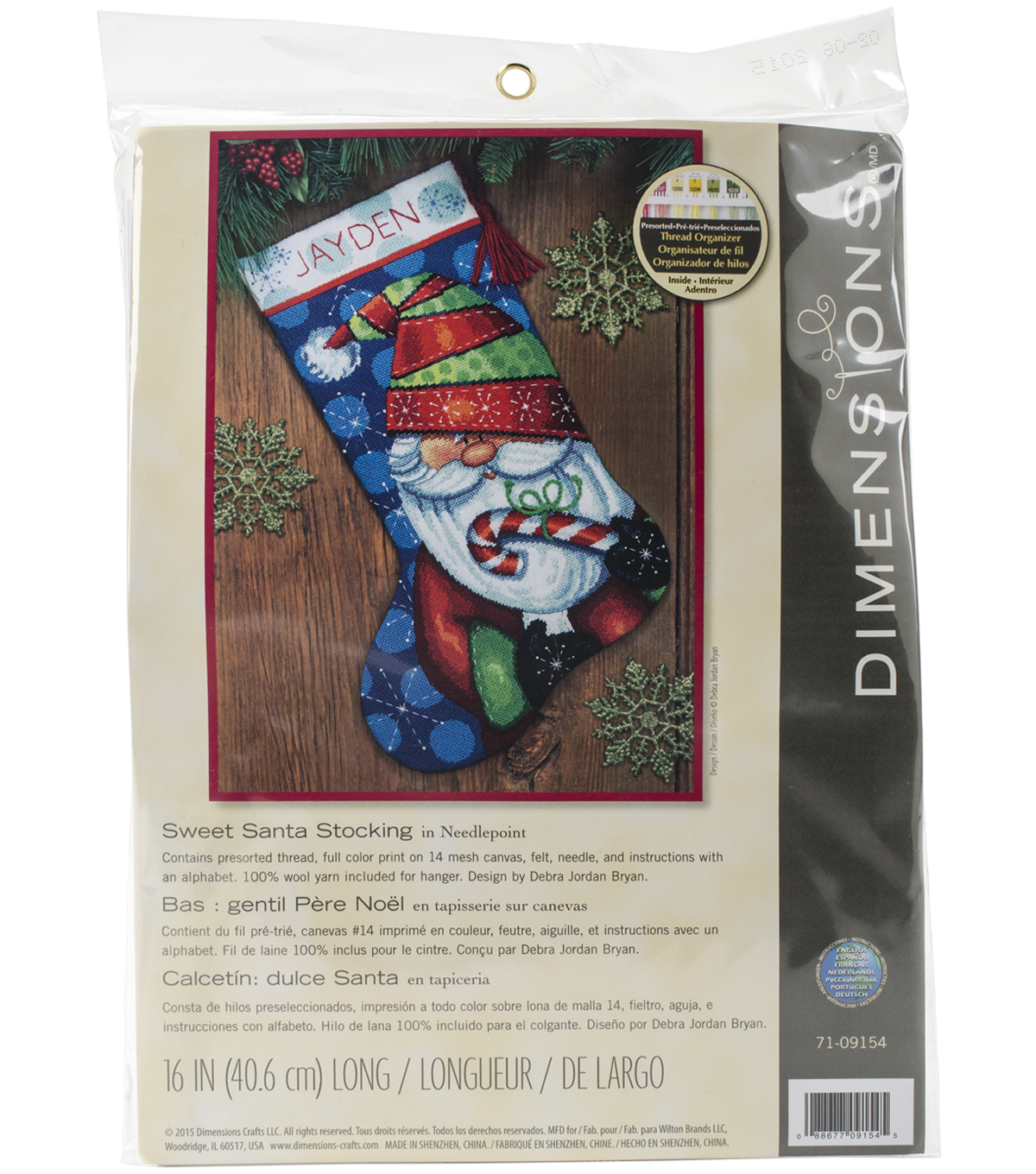 "Sweet Santa Stocking Needlepoint Kit 16"" Long Stitched In Floss"