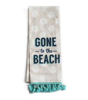 Sea to Sea 16''x28'' Linen Hand Towel with Tassel Trim-Gone To The Beach
