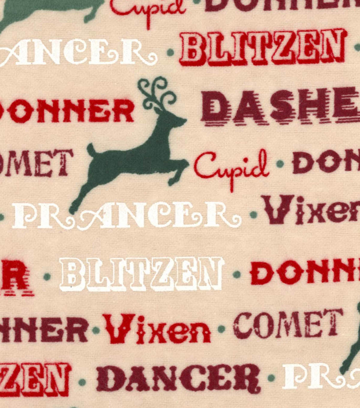 "Snuggle Flannel Fabric 42""-Reindeer Names"
