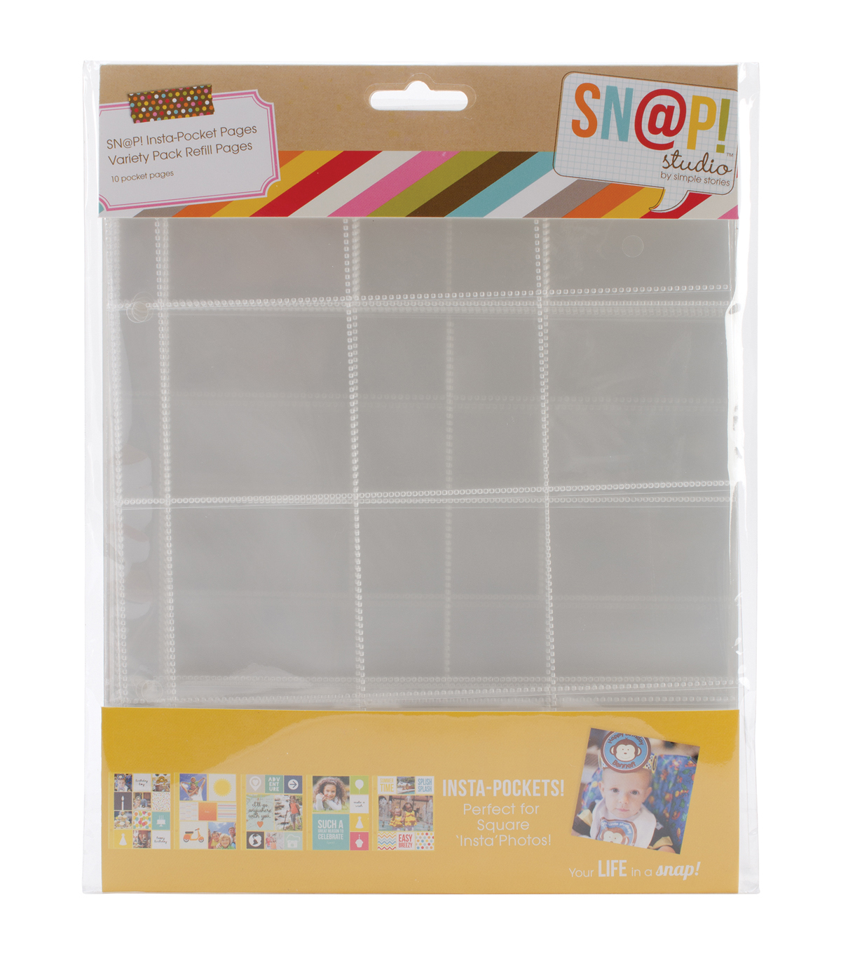 Sn@p! Insta Pocket Pages For 6\u0022X8\u0022 Binders 10/Pkg-Variety Pack