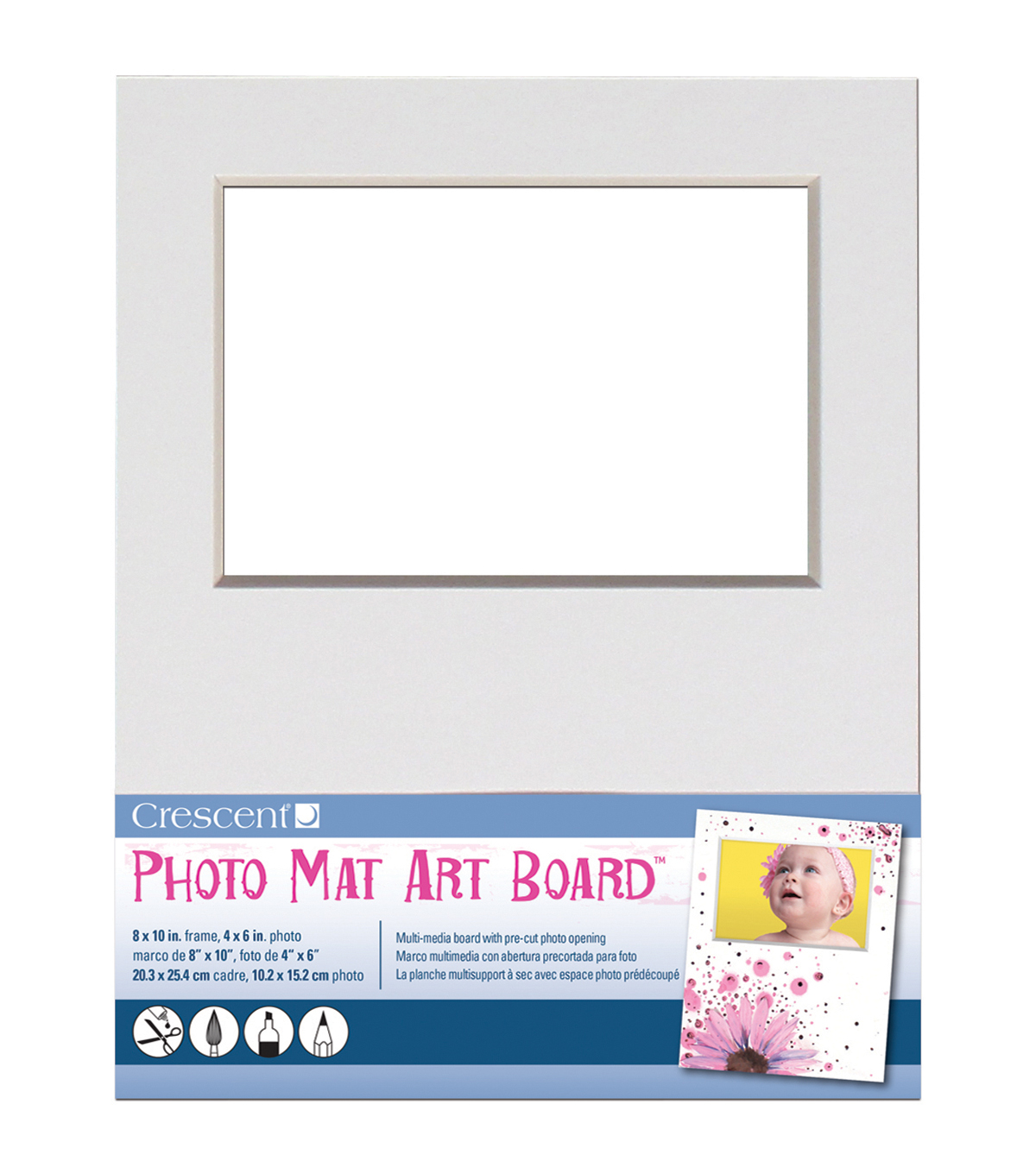 Crescent Cardboard Co 8''x10'' Photo Mat Art Board-White