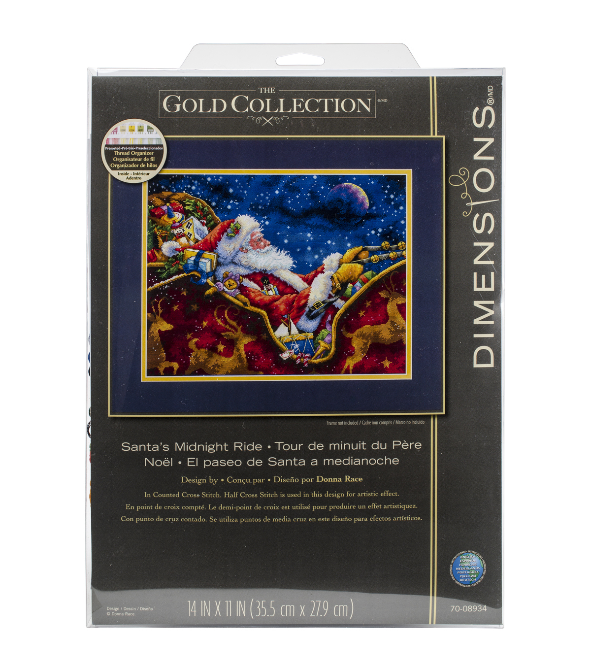 Dimensions Gold Santa\u0027s Midnight Ride Counted Cross Stitch Kit