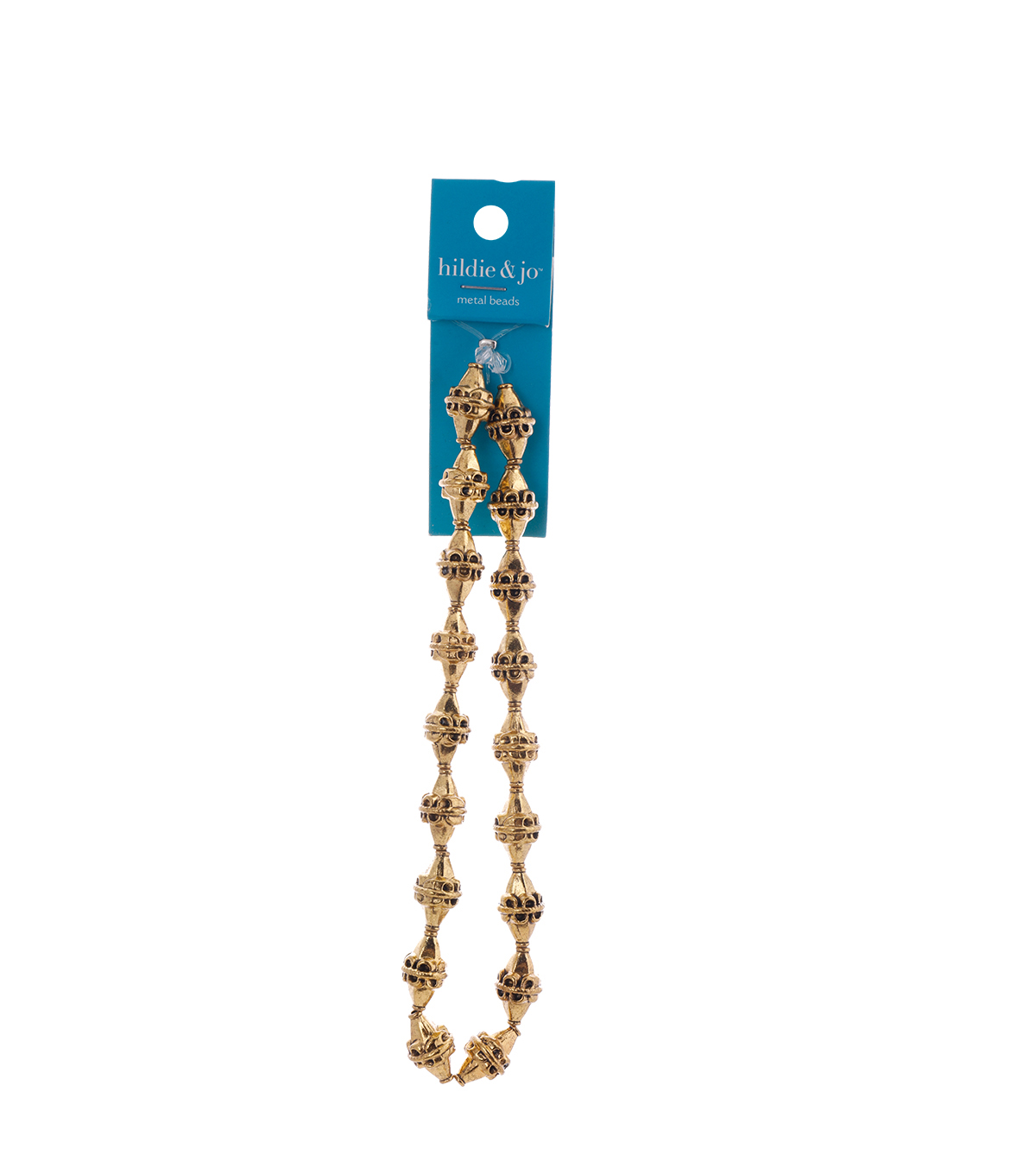 Blue Moon Strung Metal Beads,Bicone,Gold