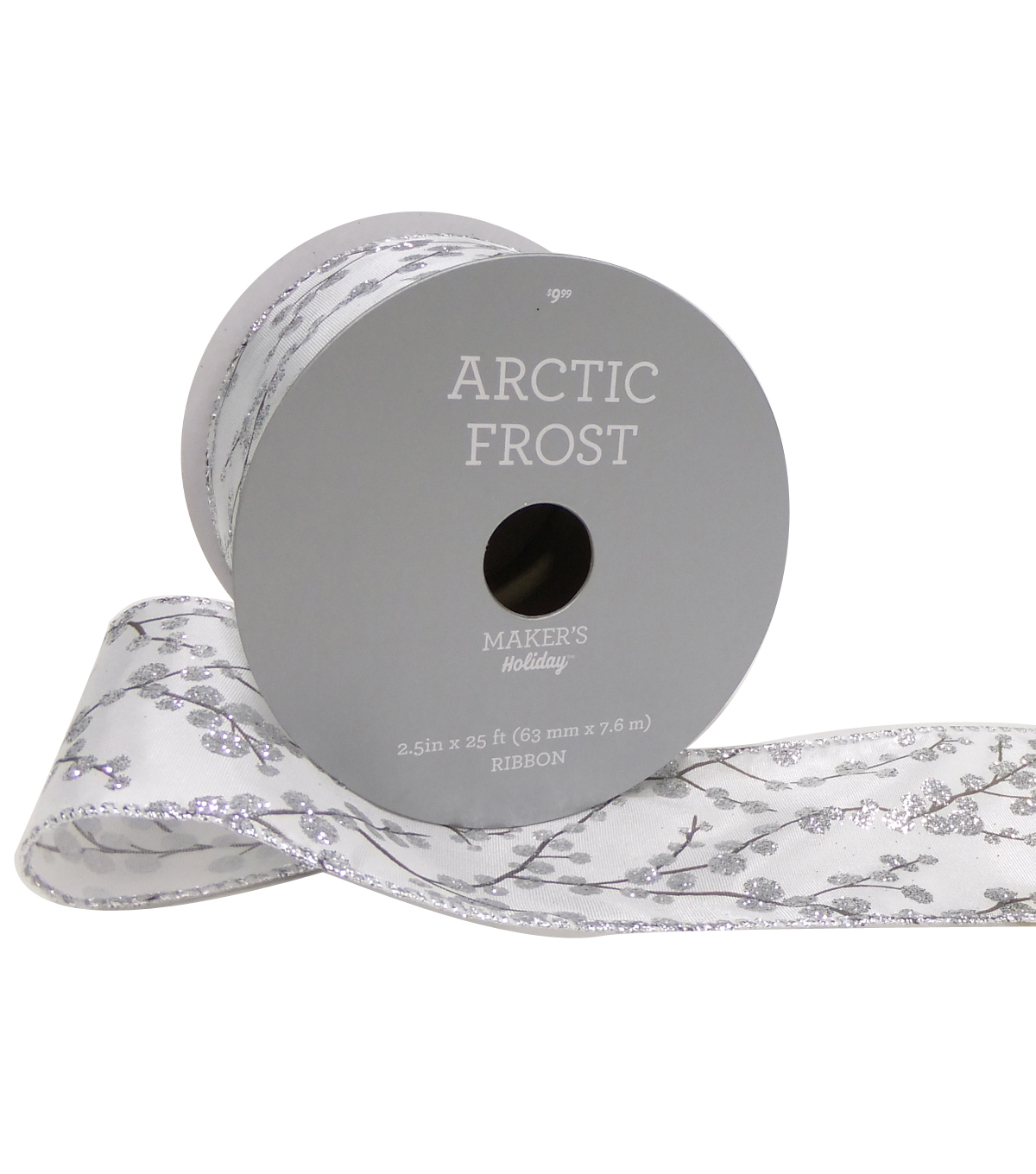 Maker's Holiday Arctic Frost Ribbon 2.5''X25'-Silver Berries on White