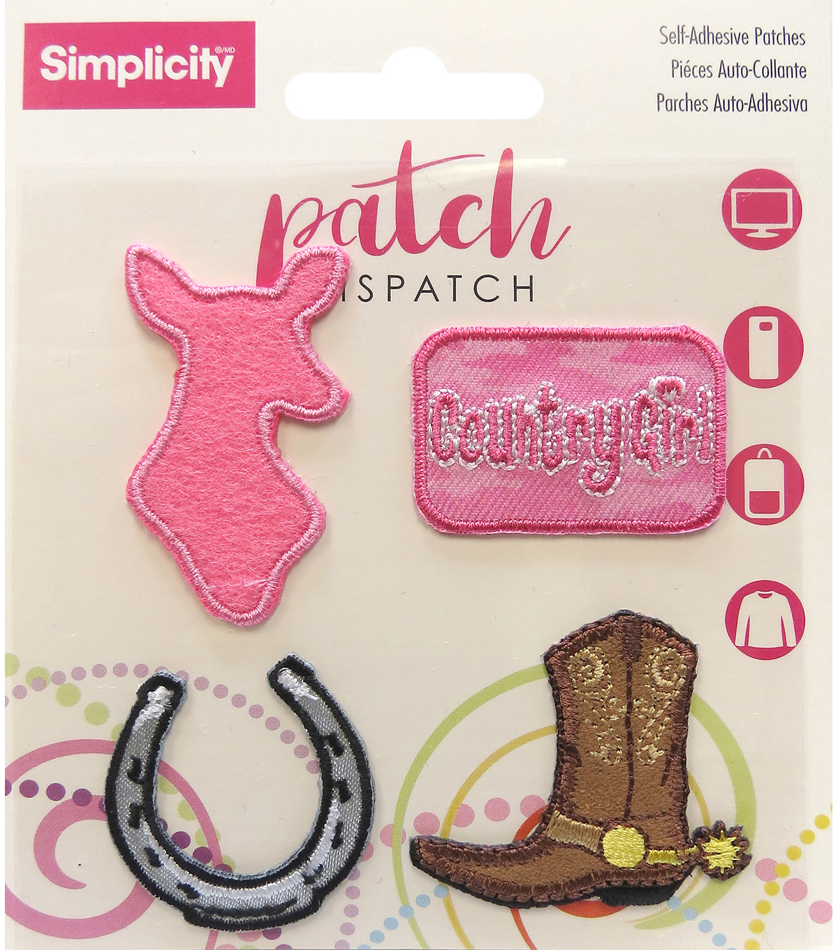 Simplicity® 4 Pack Embroidered Self-Adhesive Patches-Cowgirl