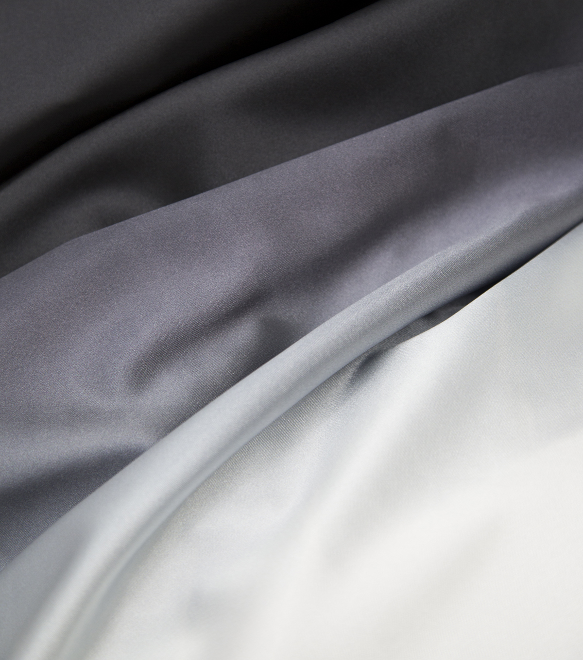 All That Glitters Colorfade Satin Fabric- Black To White