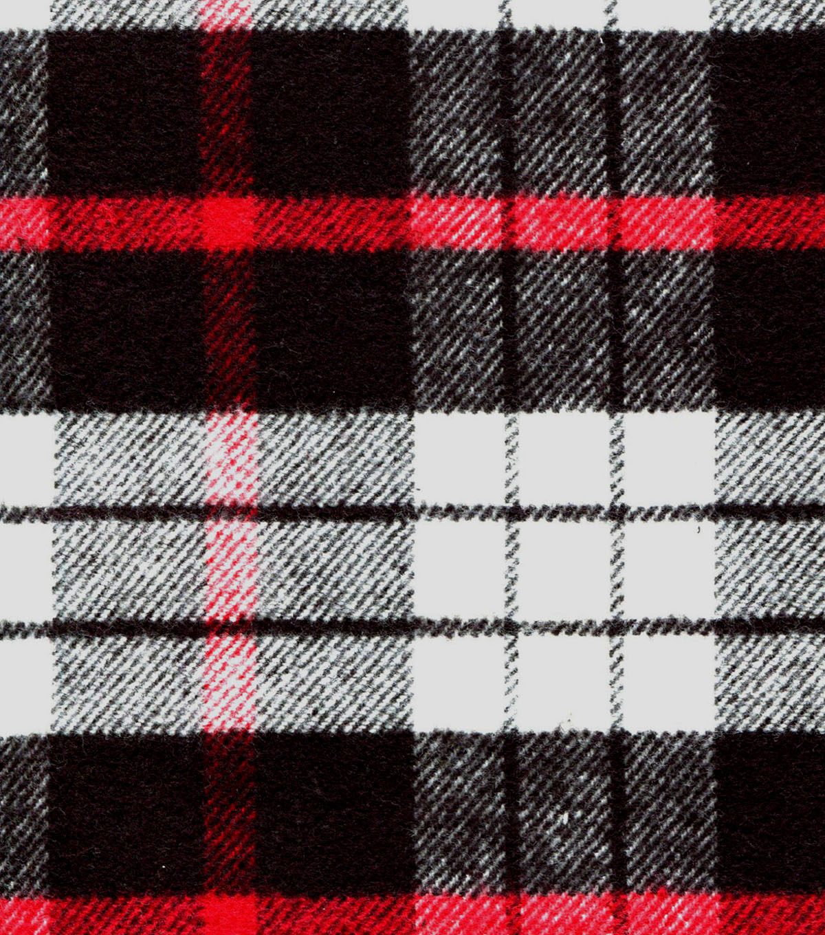 "Plaid Brush Cotton Fabric 44""-Red, Black & White"