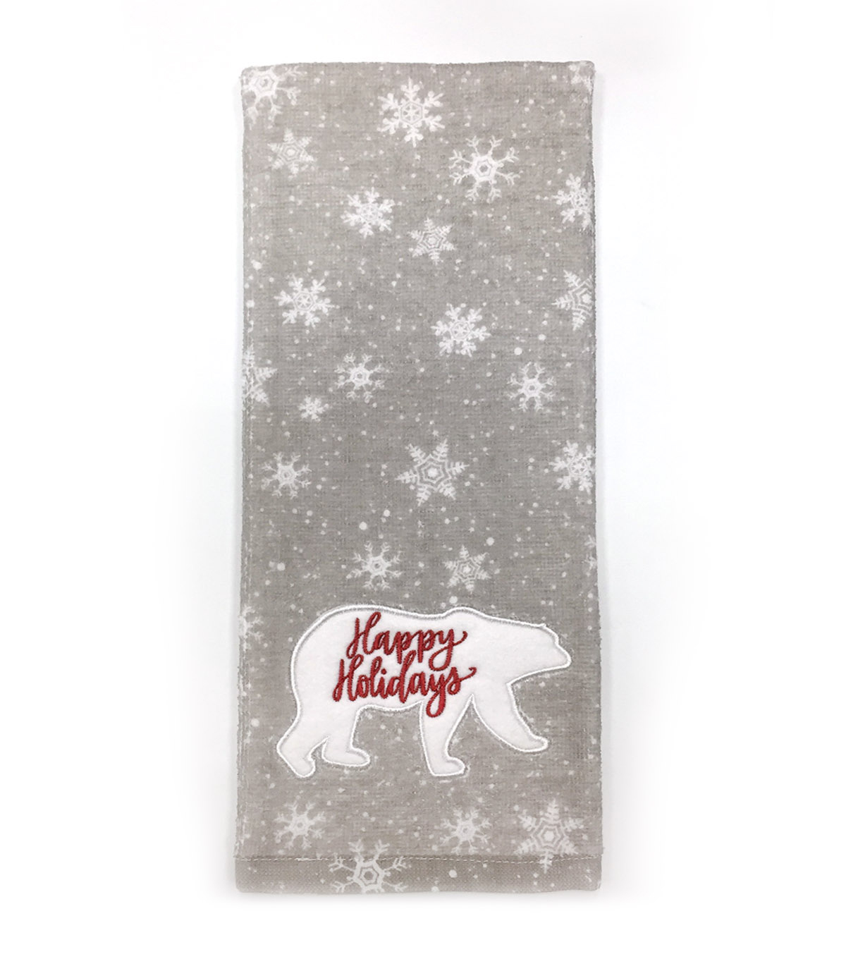Maker\u0027s Holiday Christmas Winterland Towel-Red Happy Holiday on Bear