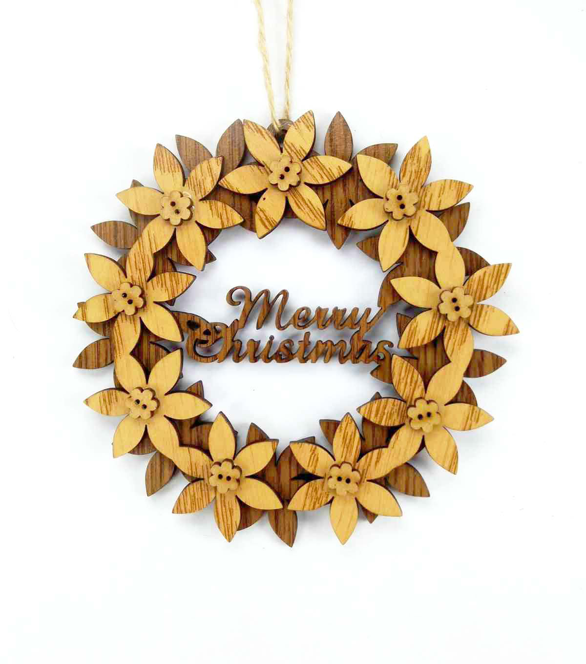 Maker\u0027s Holiday Woodland Lodge Laser Cut Wreath Ornament-Merry Christmas