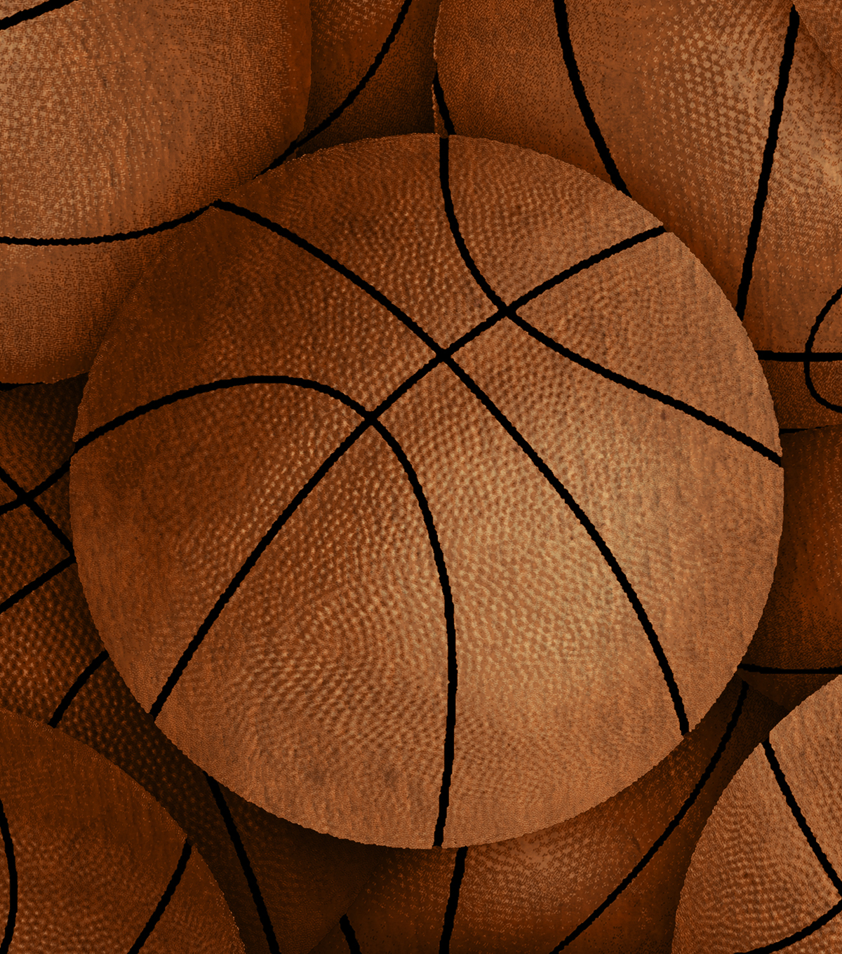 Anti-Pill Fleece Fabric 61\u0022-Vintage Basketballs
