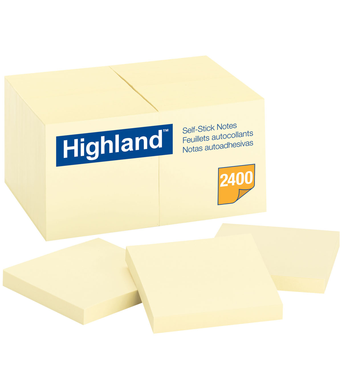 Highland 2400 pk 3\u0027\u0027x3\u0027\u0027 Self-Stick Notes-Yellow