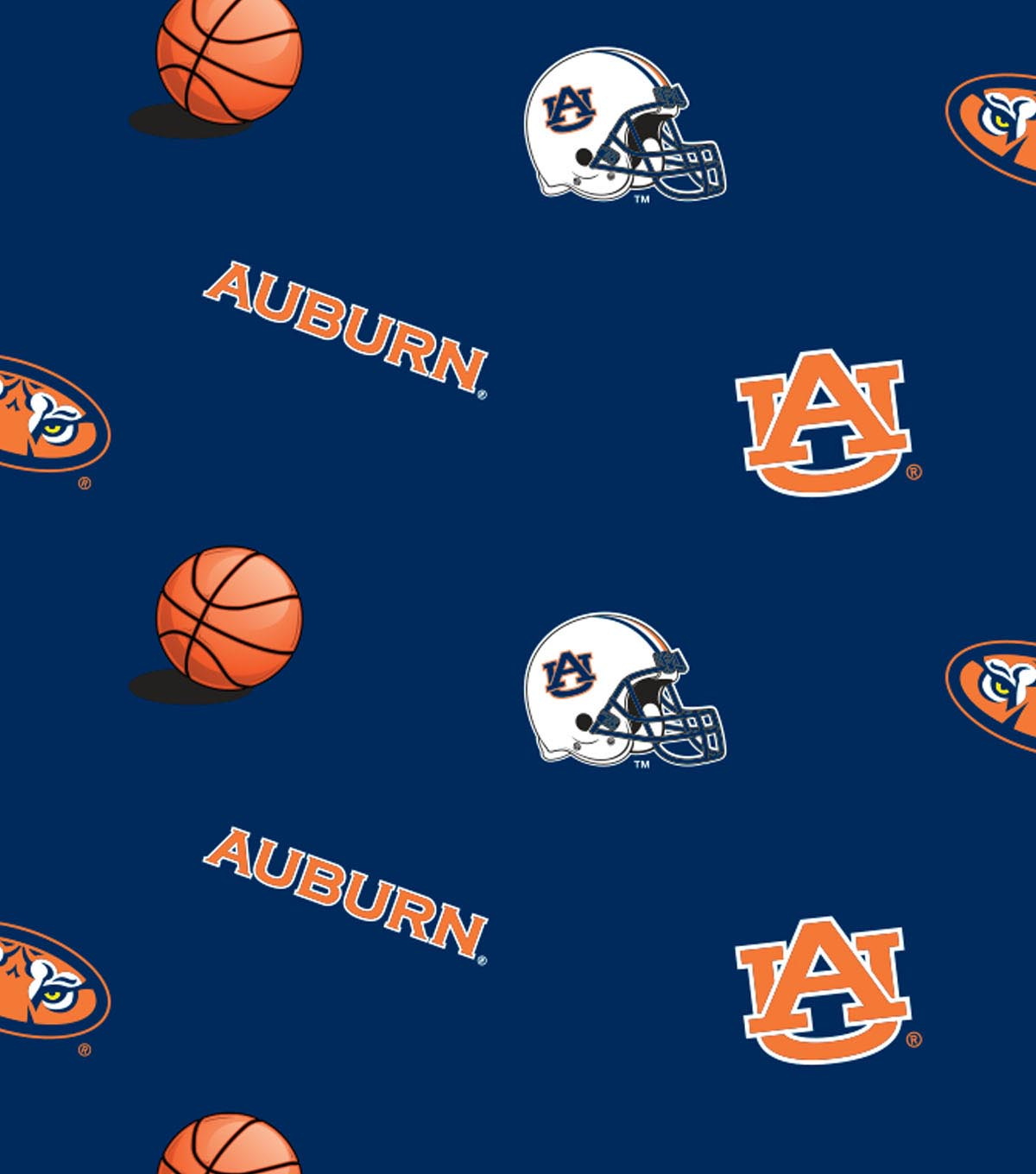 "Auburn University Tigers Fleece Fabric 58""-All Over"