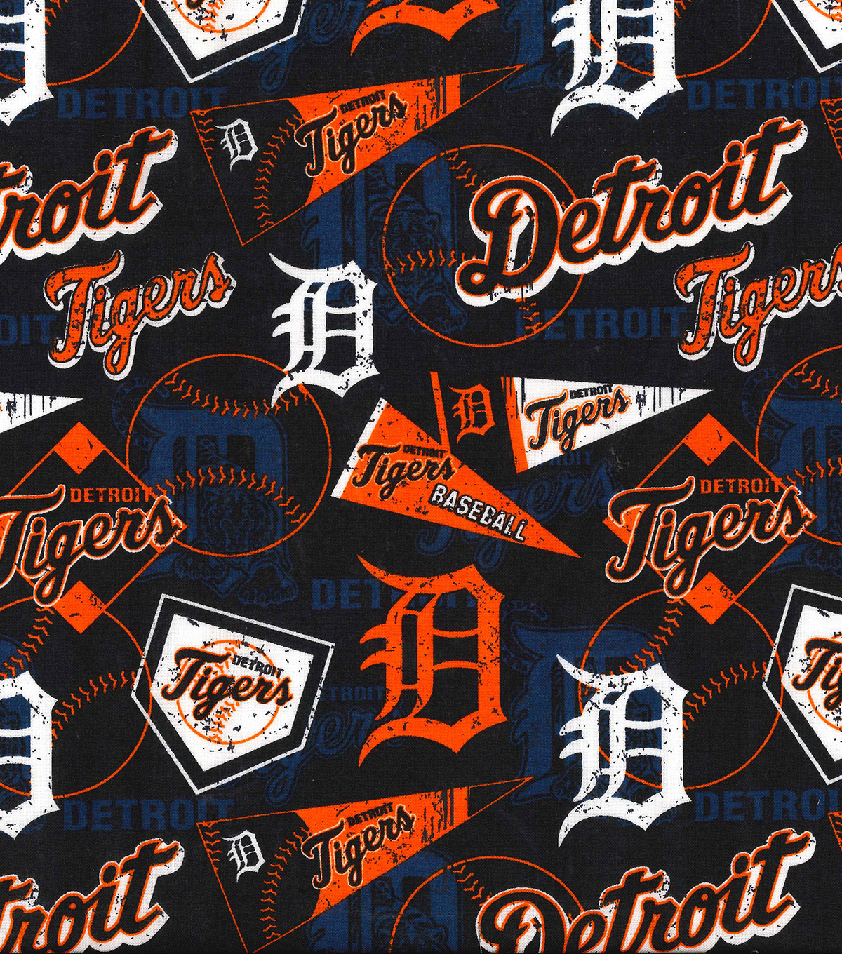 "Detroit Tigers Cotton Fabric 58""-Vintage"