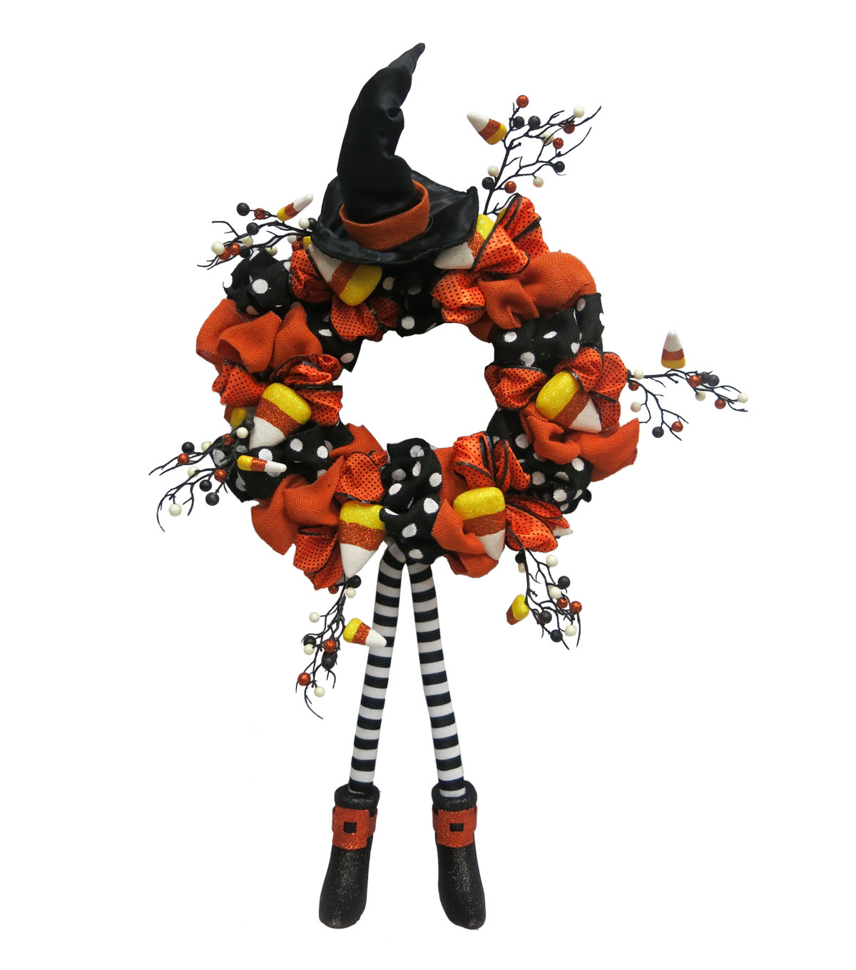 Maker\u0027s Halloween Witch Legs & Candy Corn Wreath
