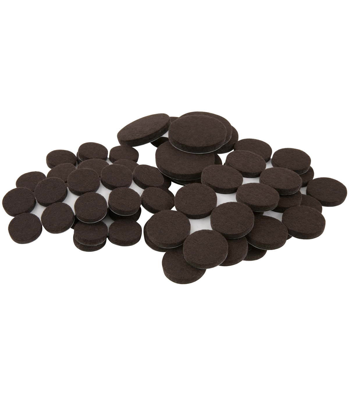 SoftTouch 80 pk Self-Stick Table & Chair Round Felt Pads-Brown