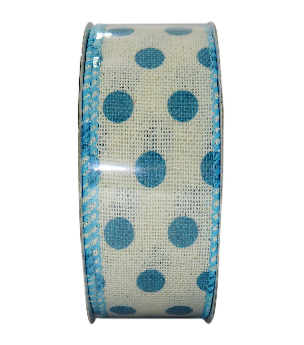 Decorative Ribbon 1.5\u0027\u0027 X 15\u0027-Blue Dot on Cream