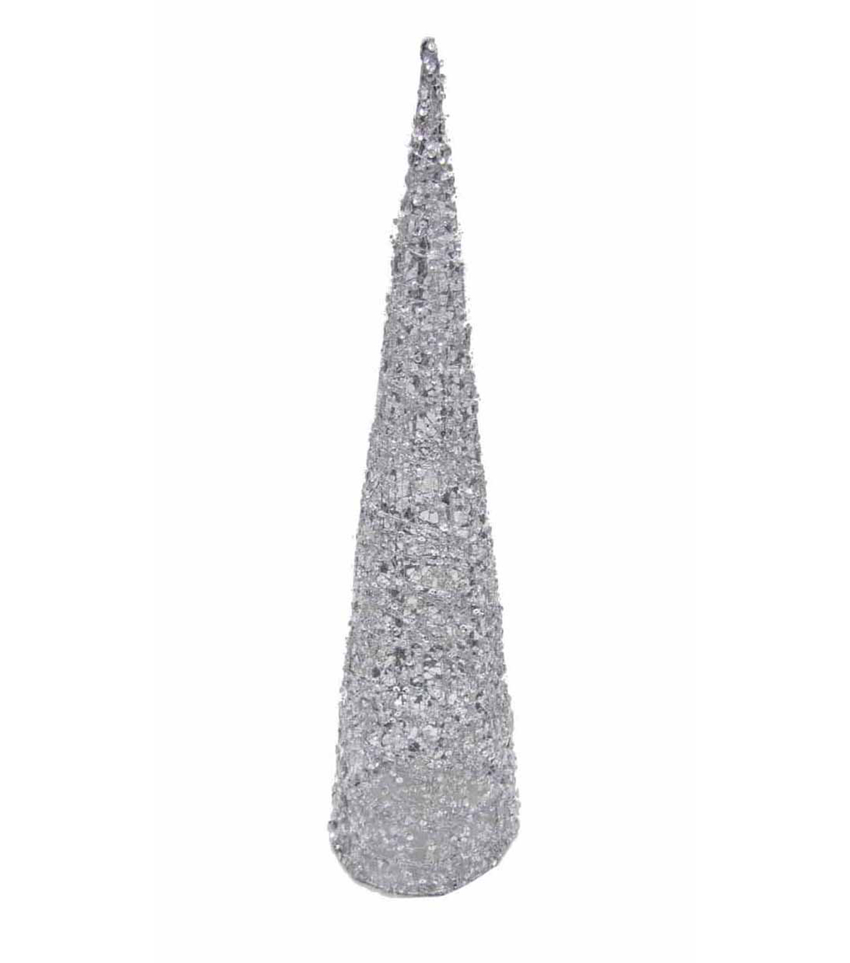 Maker\u0027s Holiday Large Beaded Cone Tree-Silver