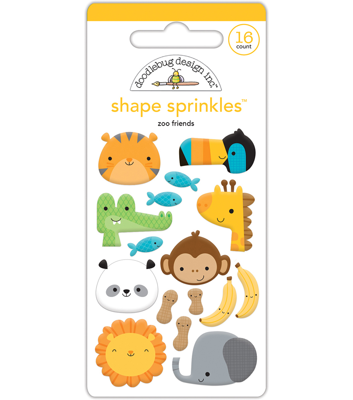 Doodlebug Sprinkles Adhesive Glossy Enamel Shapes-At The Zoo Friends