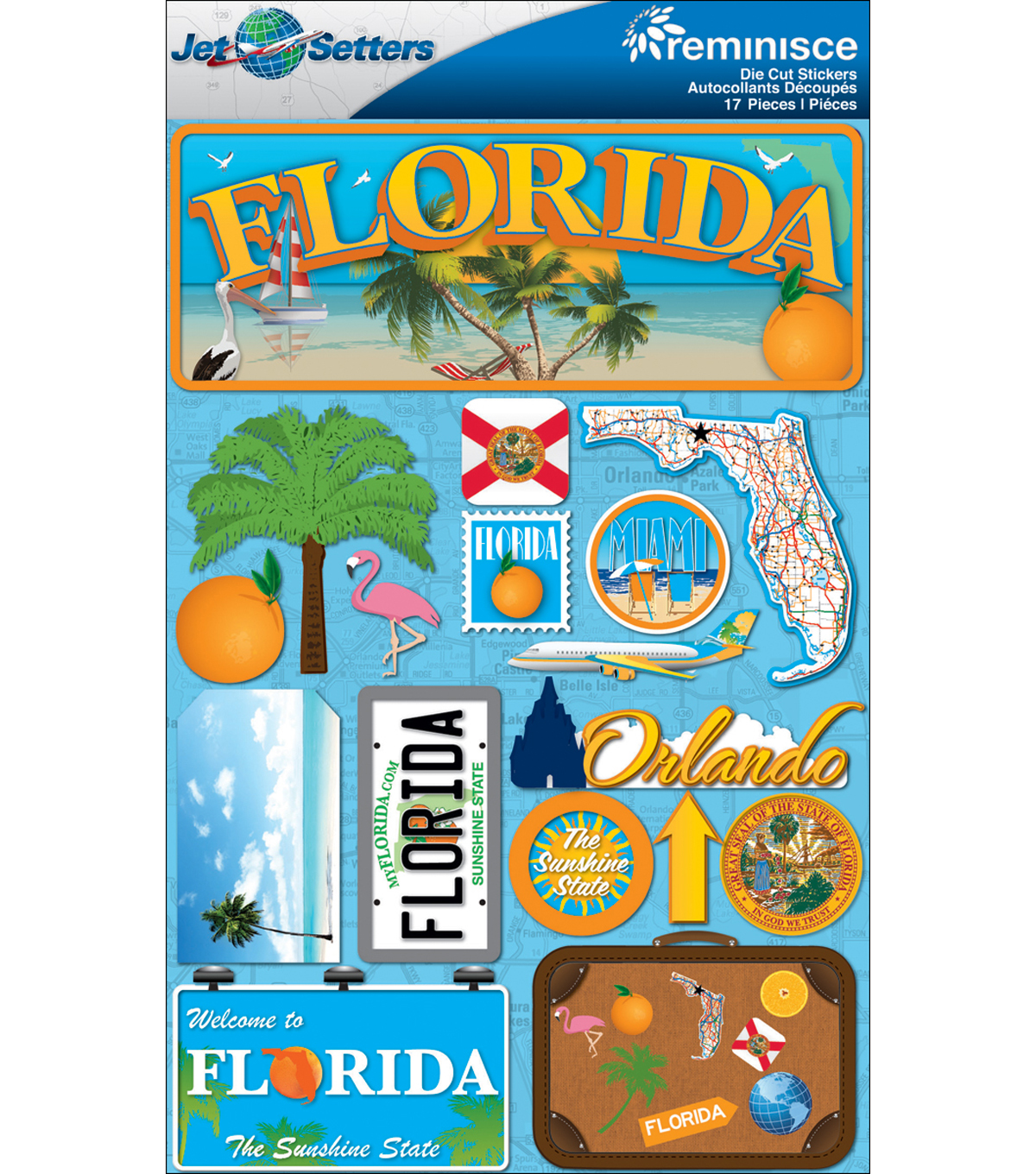 Jet Setters Dimensional Stickers-Florida