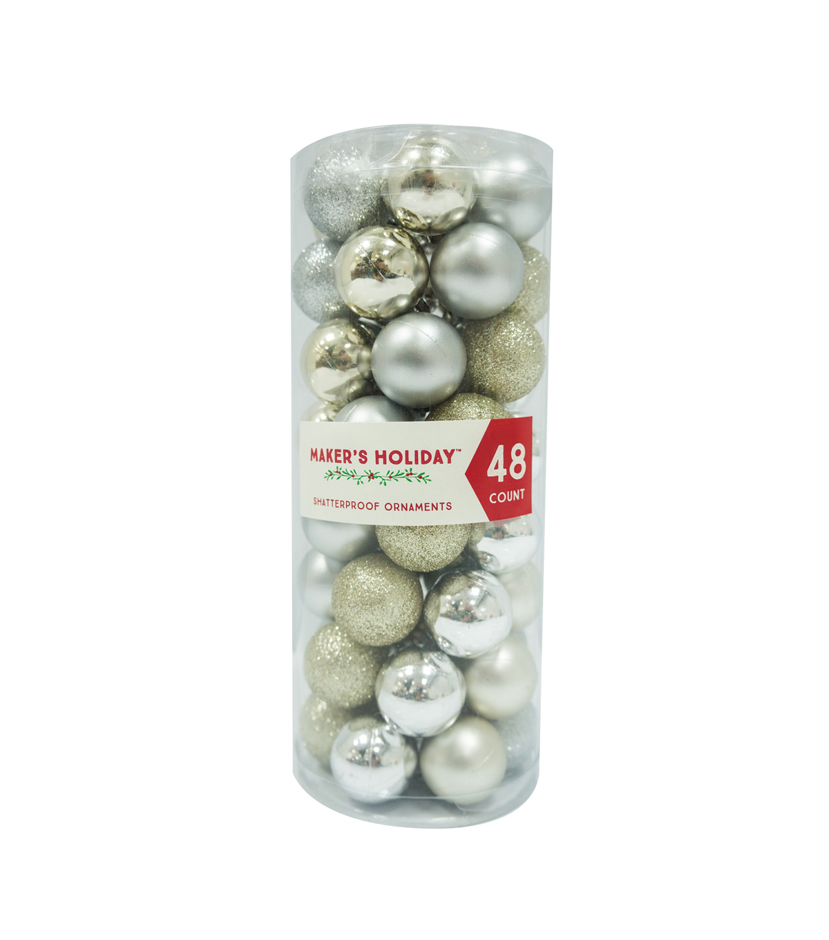 Maker's Holiday 48ct Small Shatterproof Ornaments-Silver & Gold